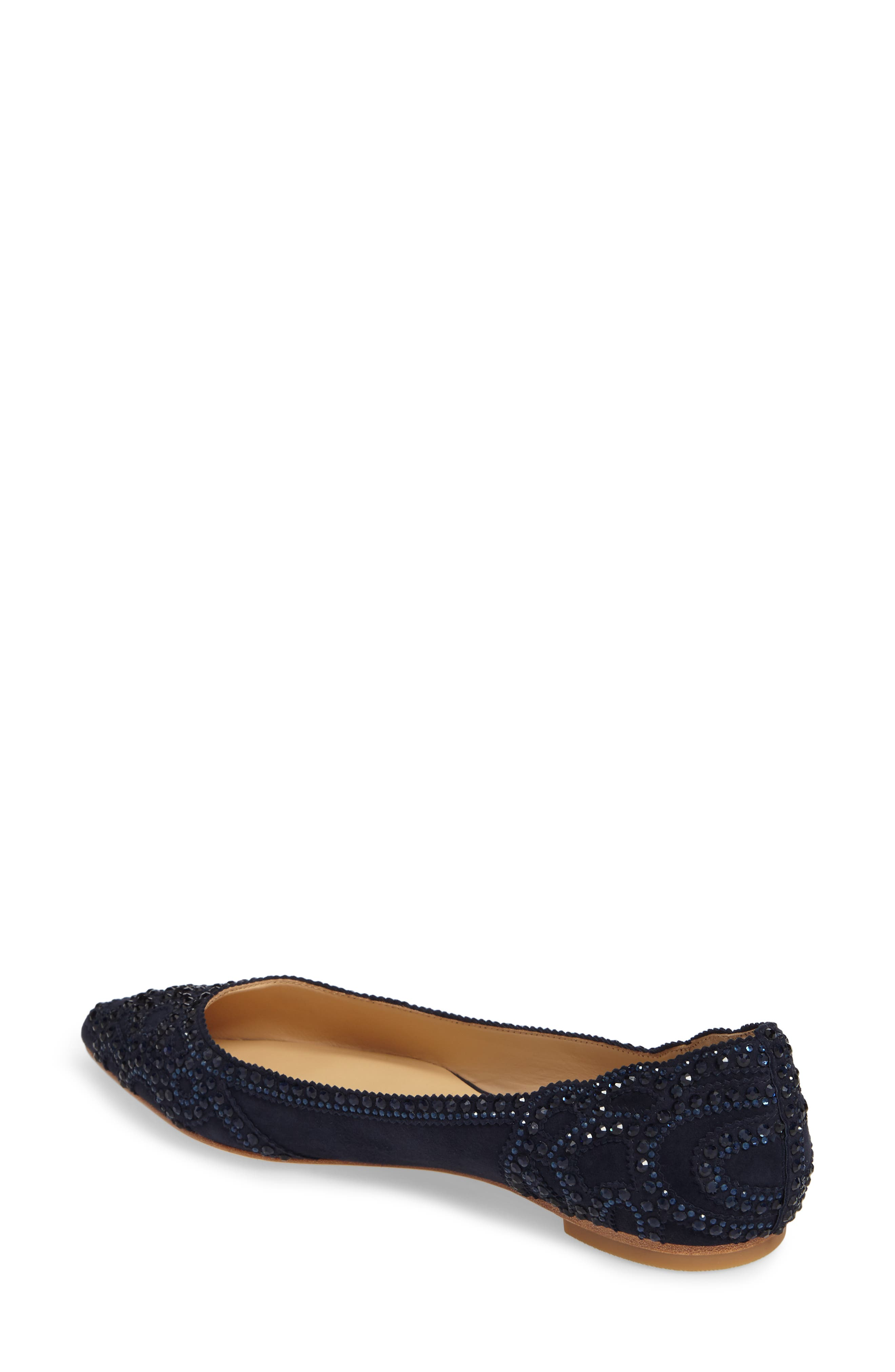 Gigi Crystal Pointy Toe Flat,                             Alternate thumbnail 2, color,                             Midnight Suede