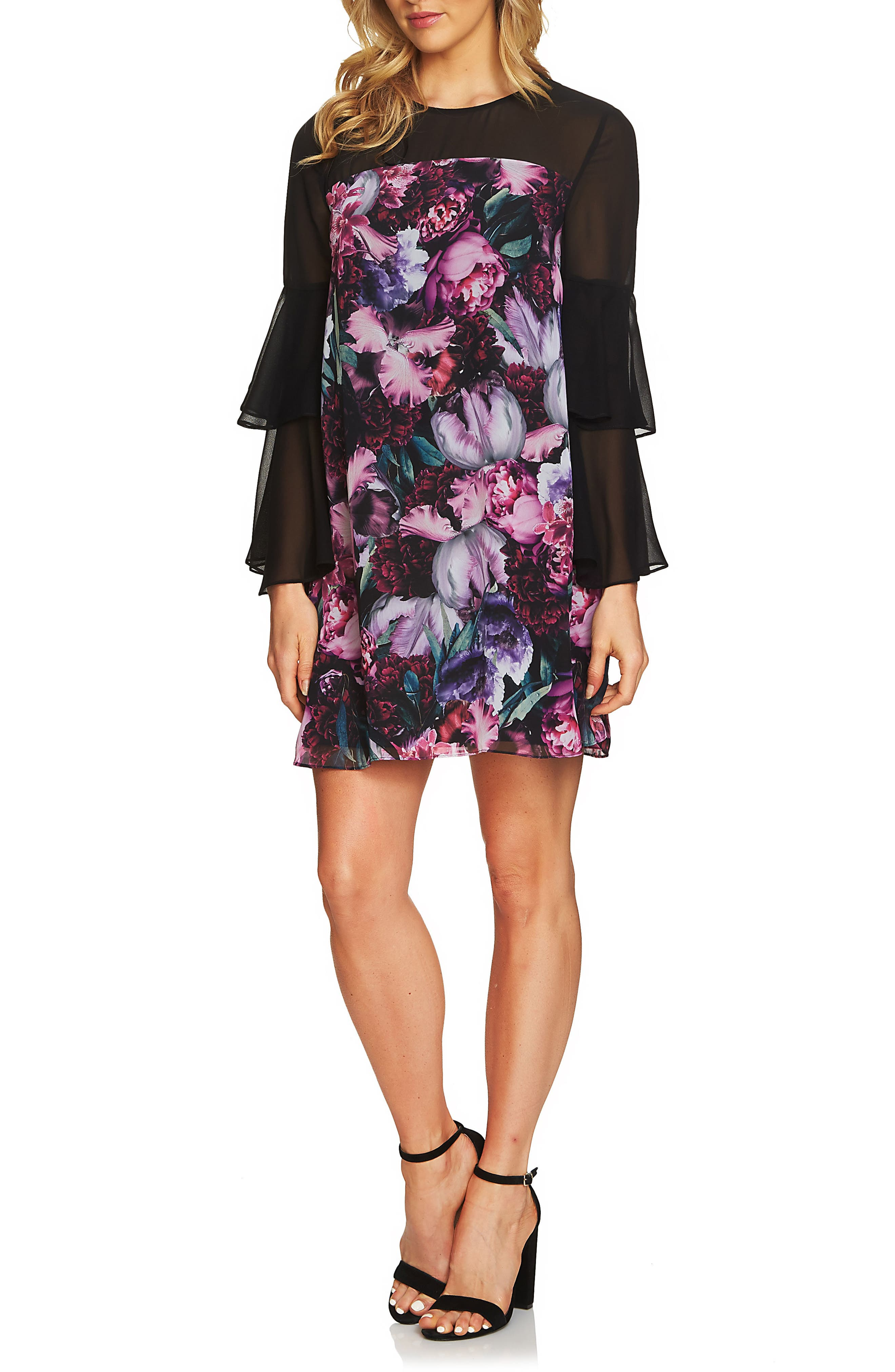 Camille Ruffle Sleeve Shift Dress,                         Main,                         color, Rich Black