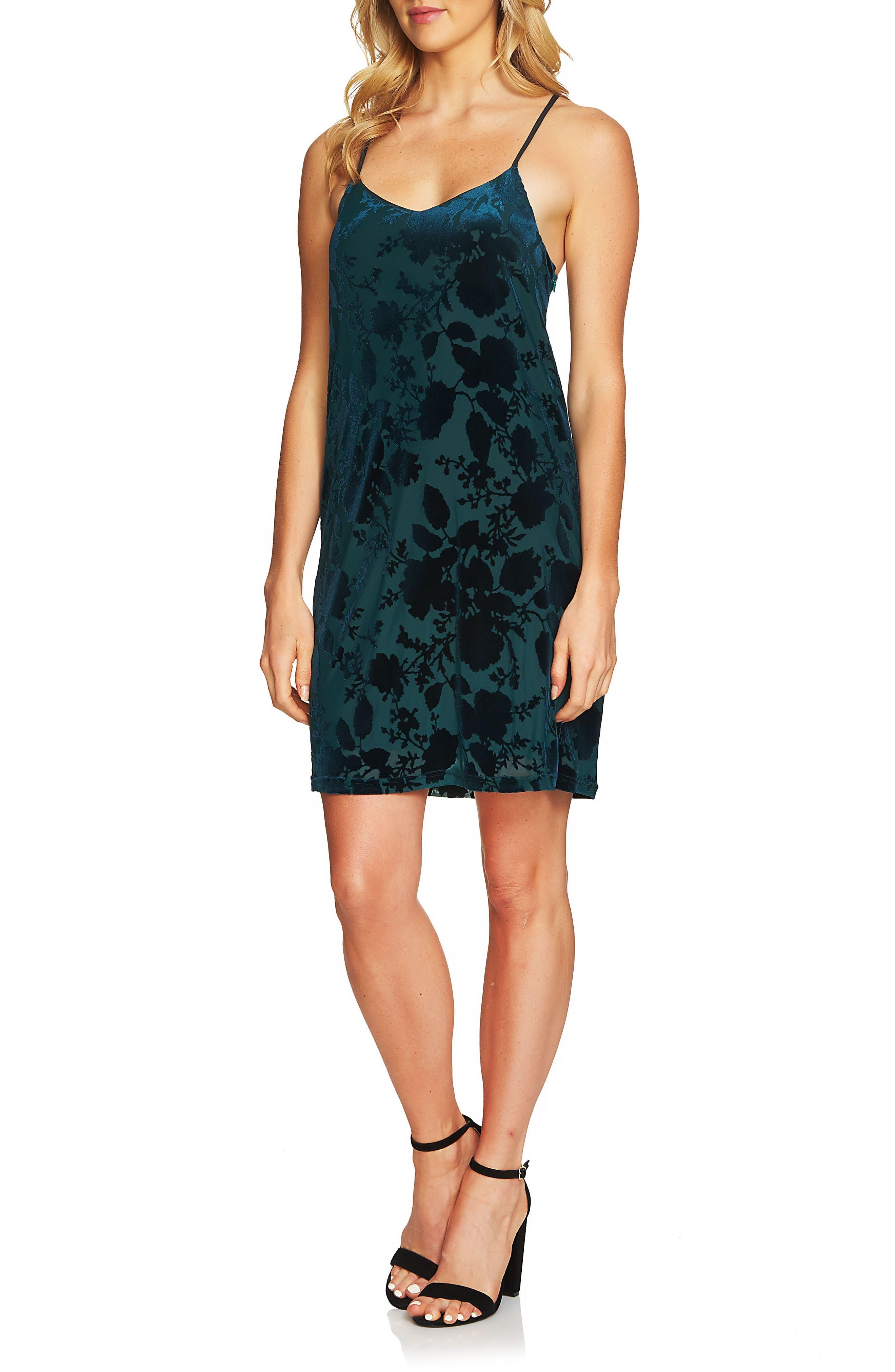 Mia Burnout Velvet Slipdress,                         Main,                         color, Jasper Green