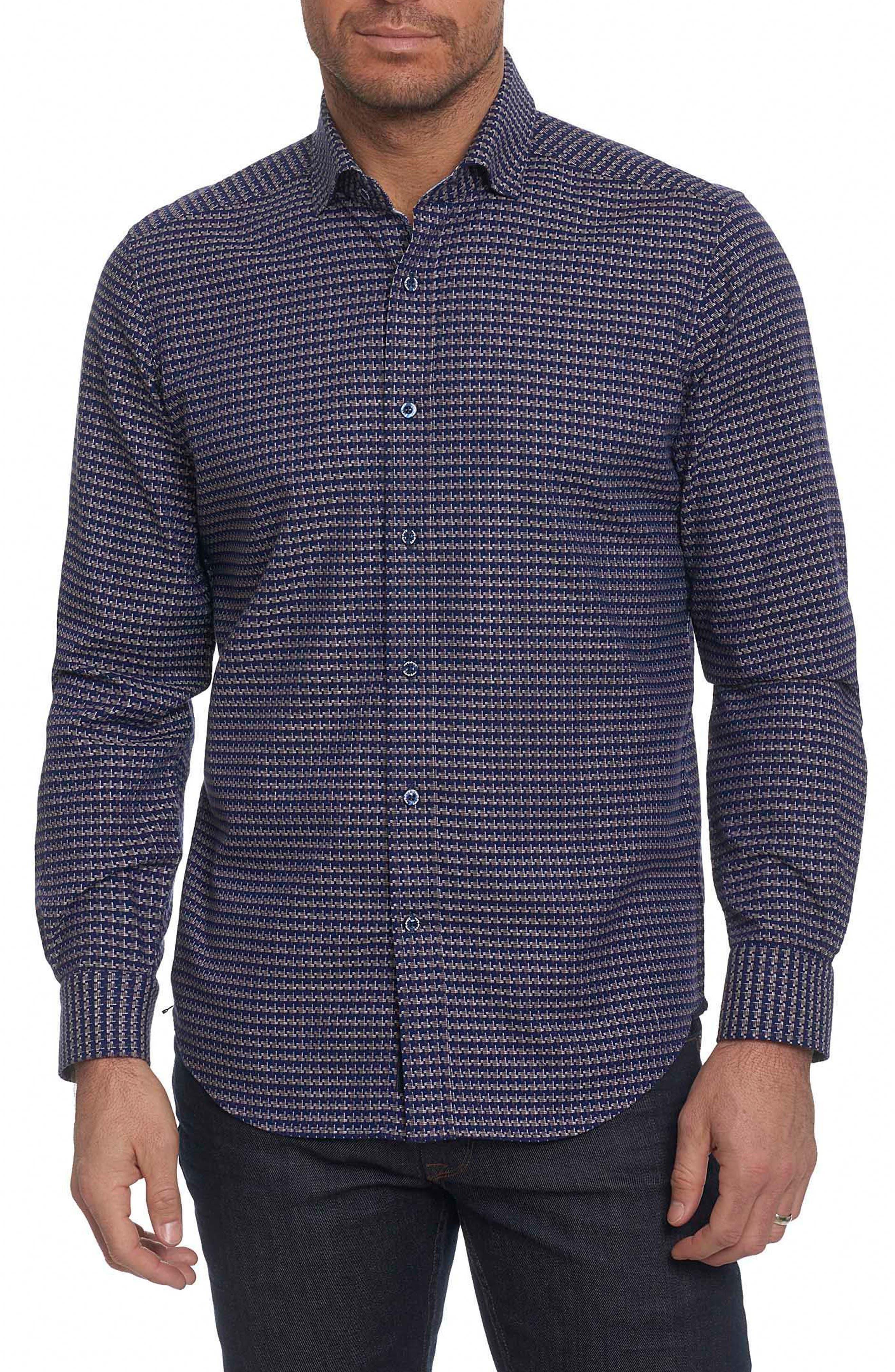 Landen Tailored Fit Print Sport Shirt,                         Main,                         color, Navy
