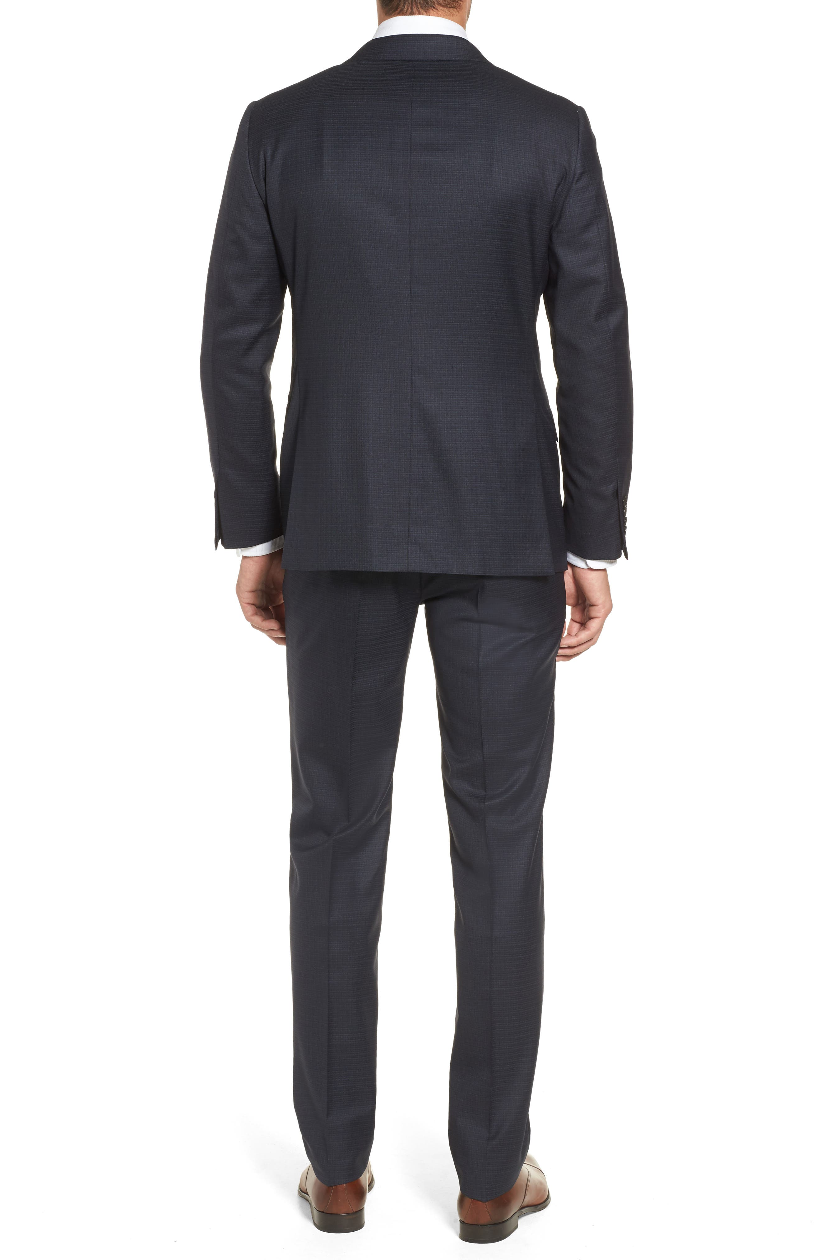 Classic B Fit Check Wool & Cashmere Suit,                             Alternate thumbnail 2, color,                             Navy