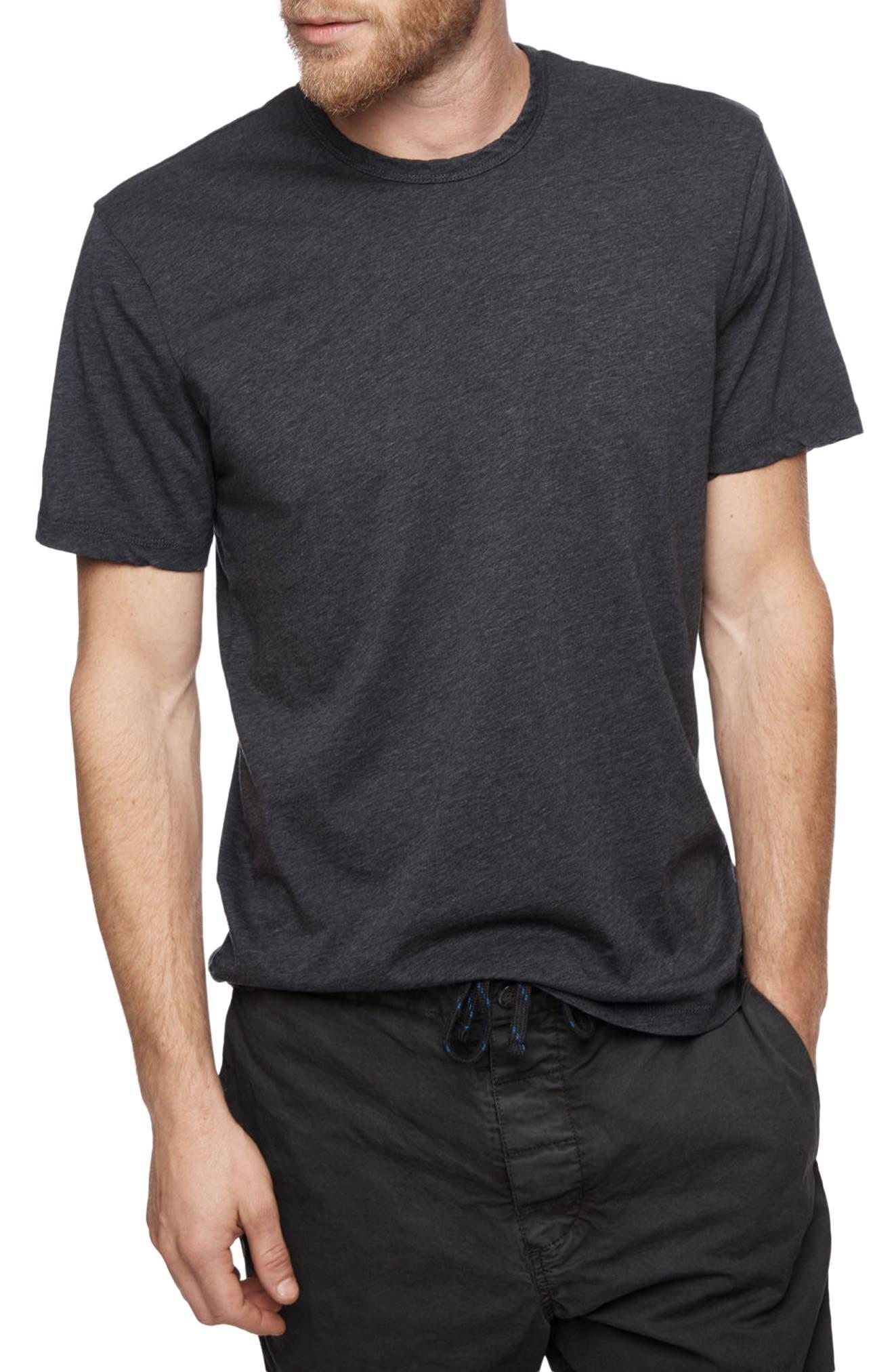Clean Crewneck Cotton & Cashmere T-Shirt,                             Main thumbnail 1, color,                             Heather Navy