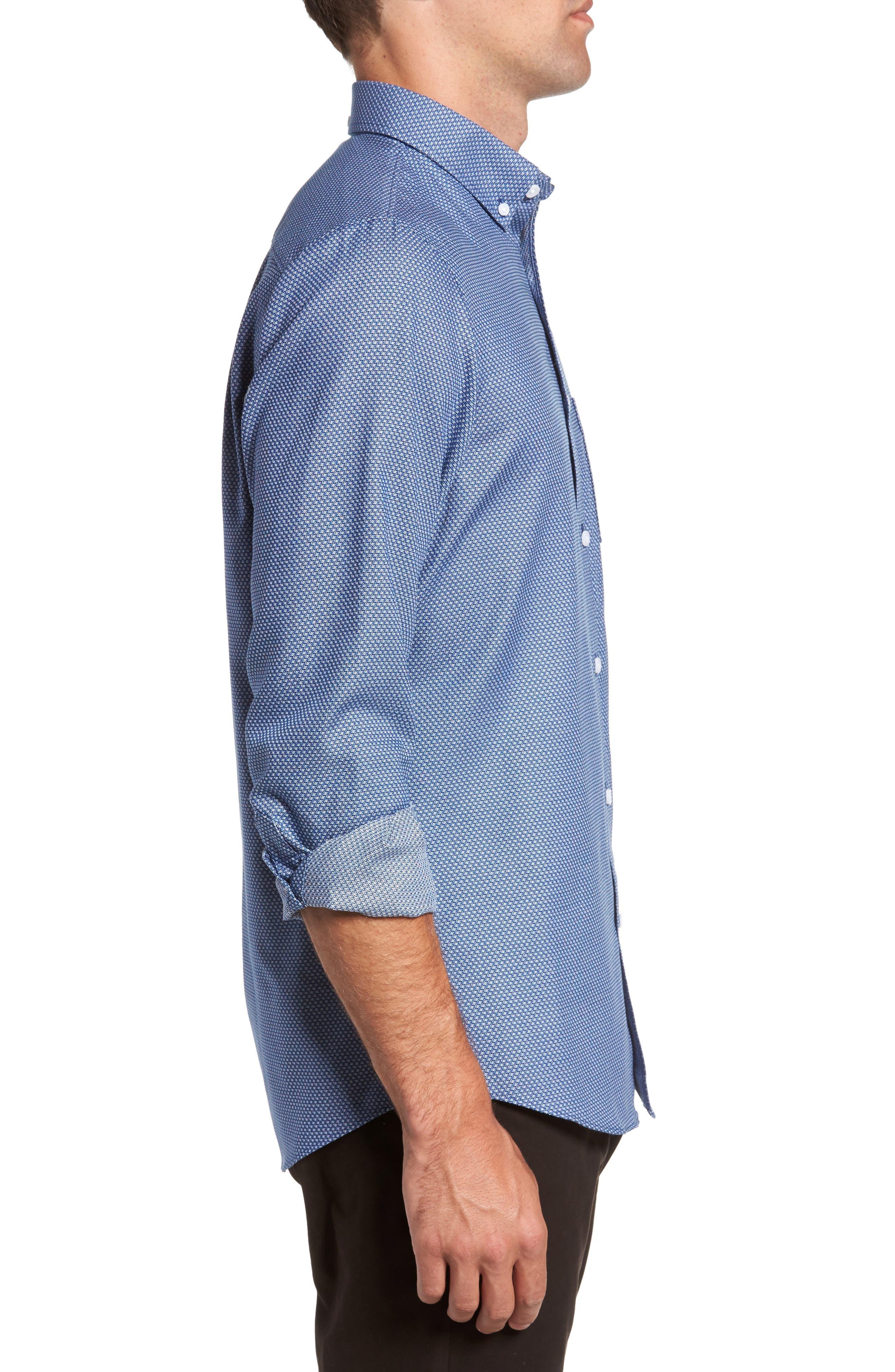 Non-Iron Regular Fit Print Sport Shirt,                             Alternate thumbnail 3, color,                             Blue Estate Square Dobby