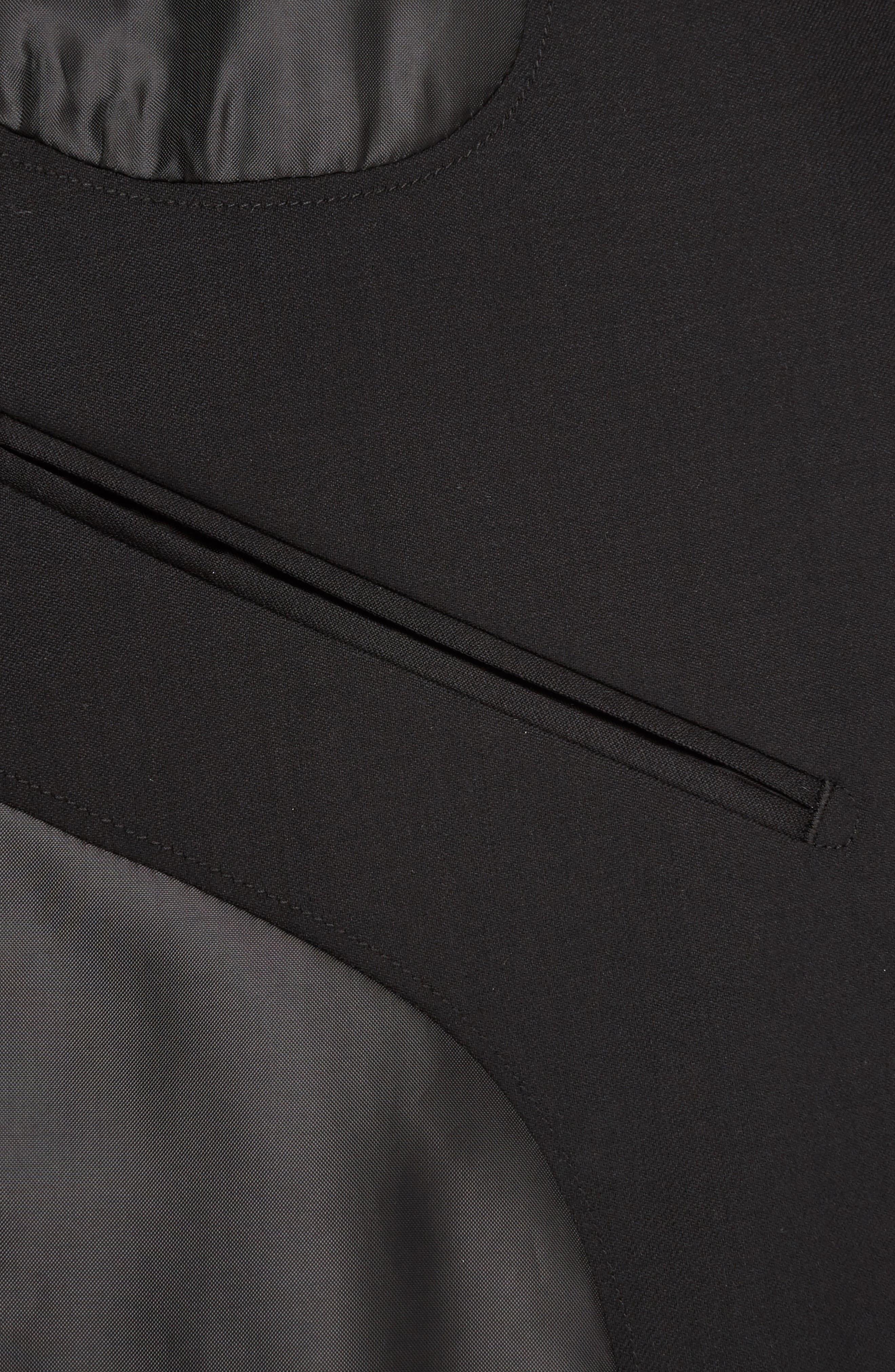Jetsetter Trim Fit Stretch Wool Suit Jacket,                             Alternate thumbnail 4, color,                             Black
