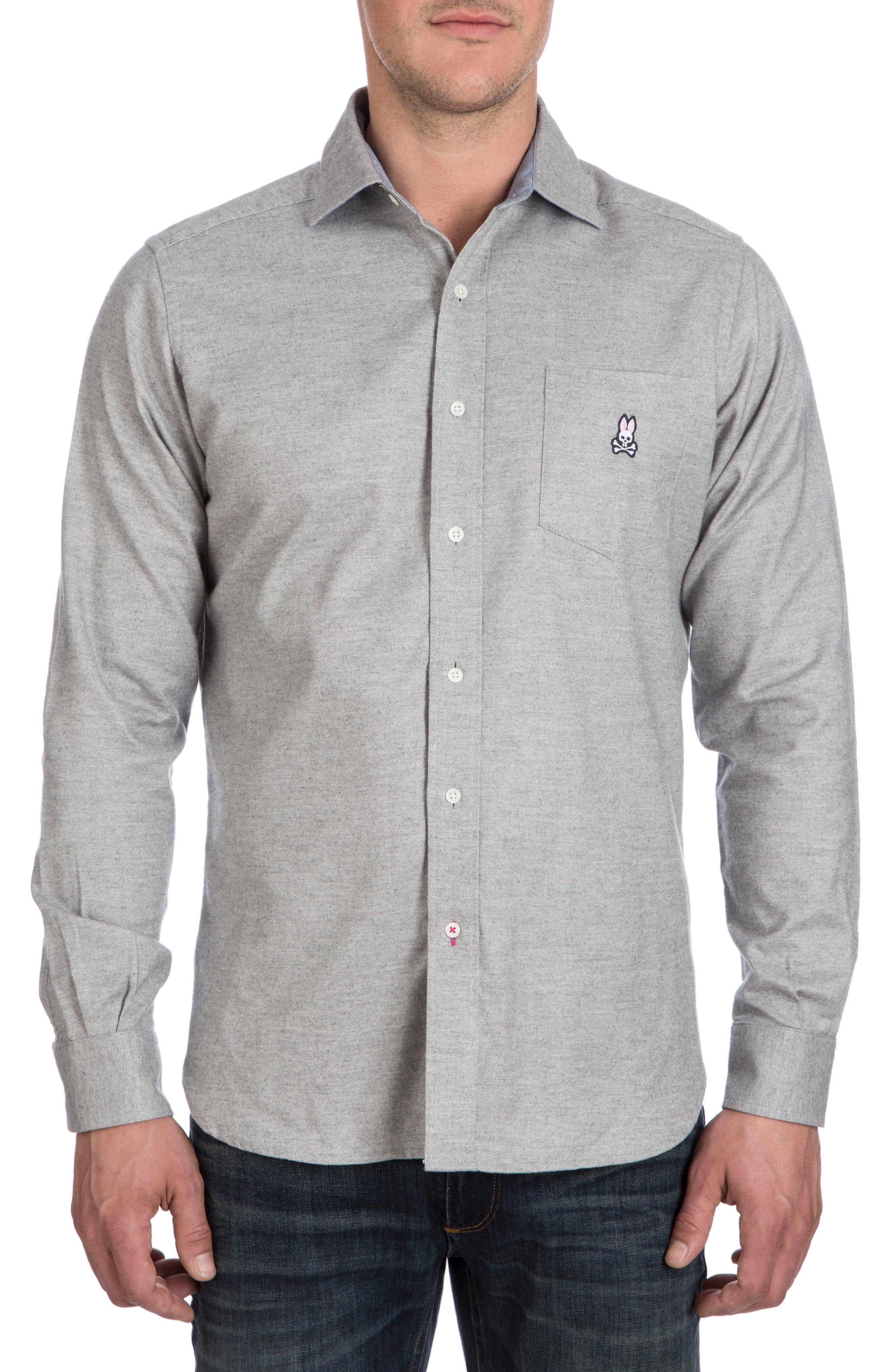 Flannel Sport Shirt,                         Main,                         color, Heather Grey
