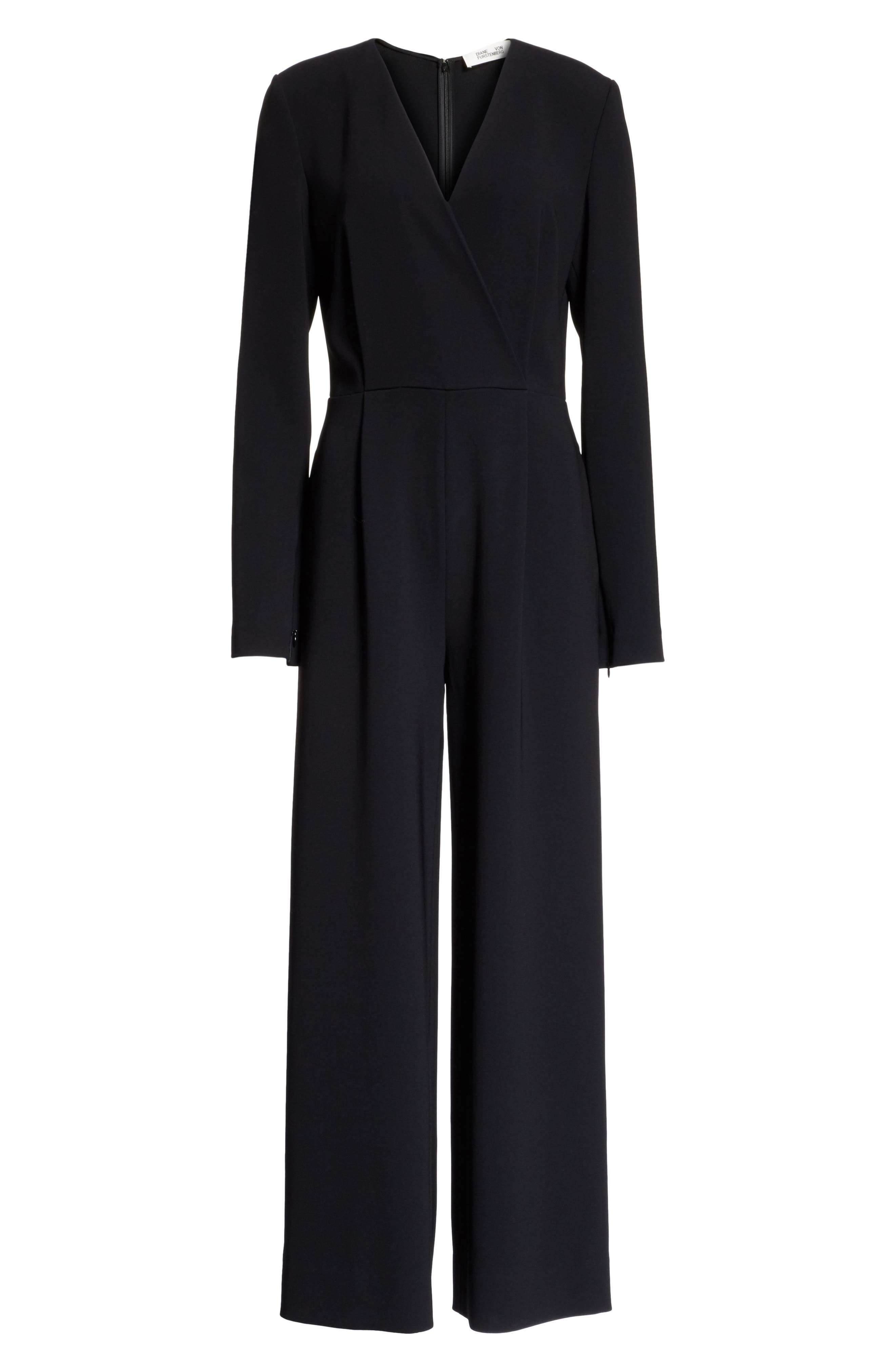 Surplice Jumpsuit,                             Alternate thumbnail 6, color,                             Black