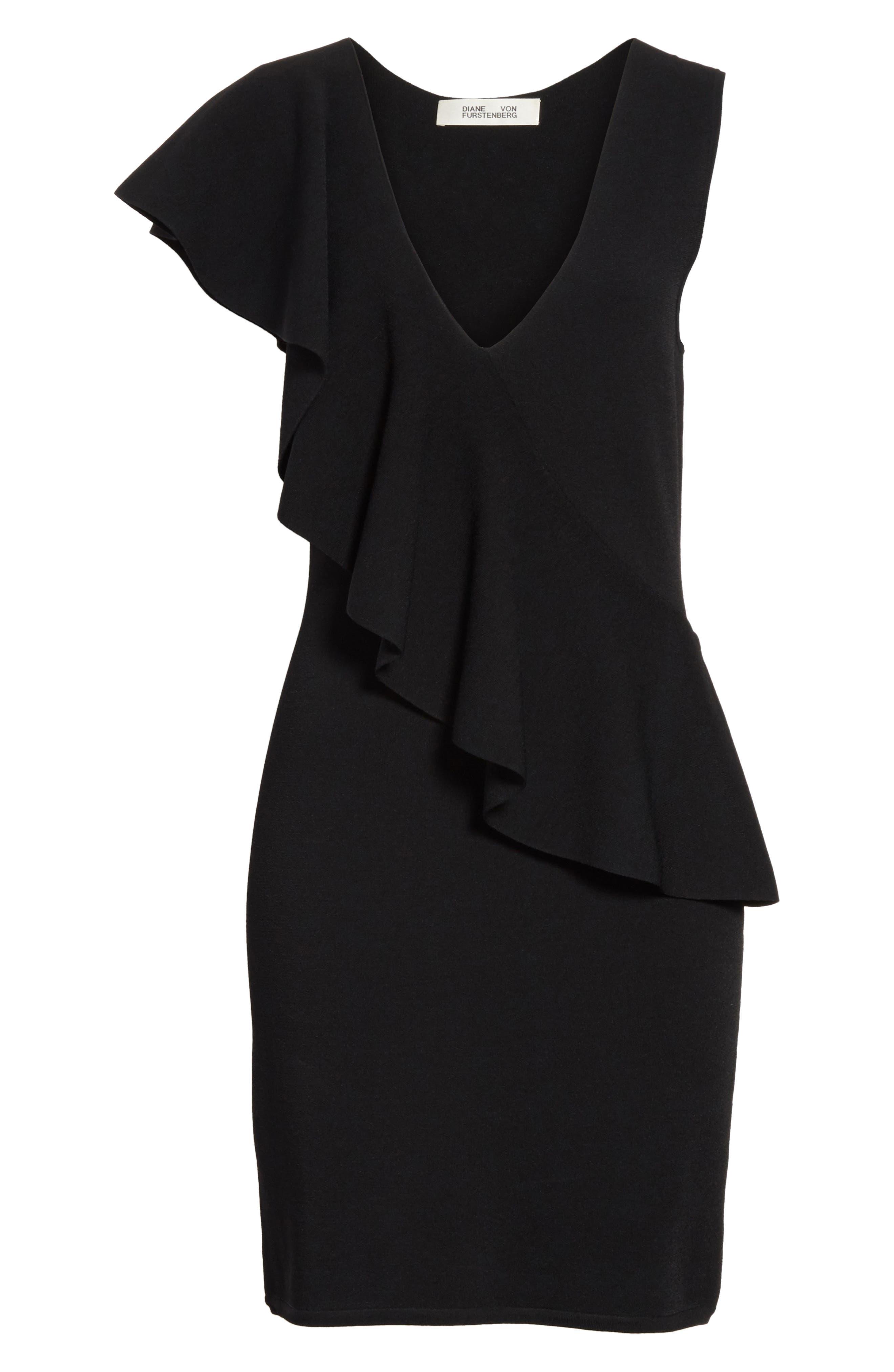 Asymmetrical Ruffle Dress,                             Alternate thumbnail 6, color,                             Black
