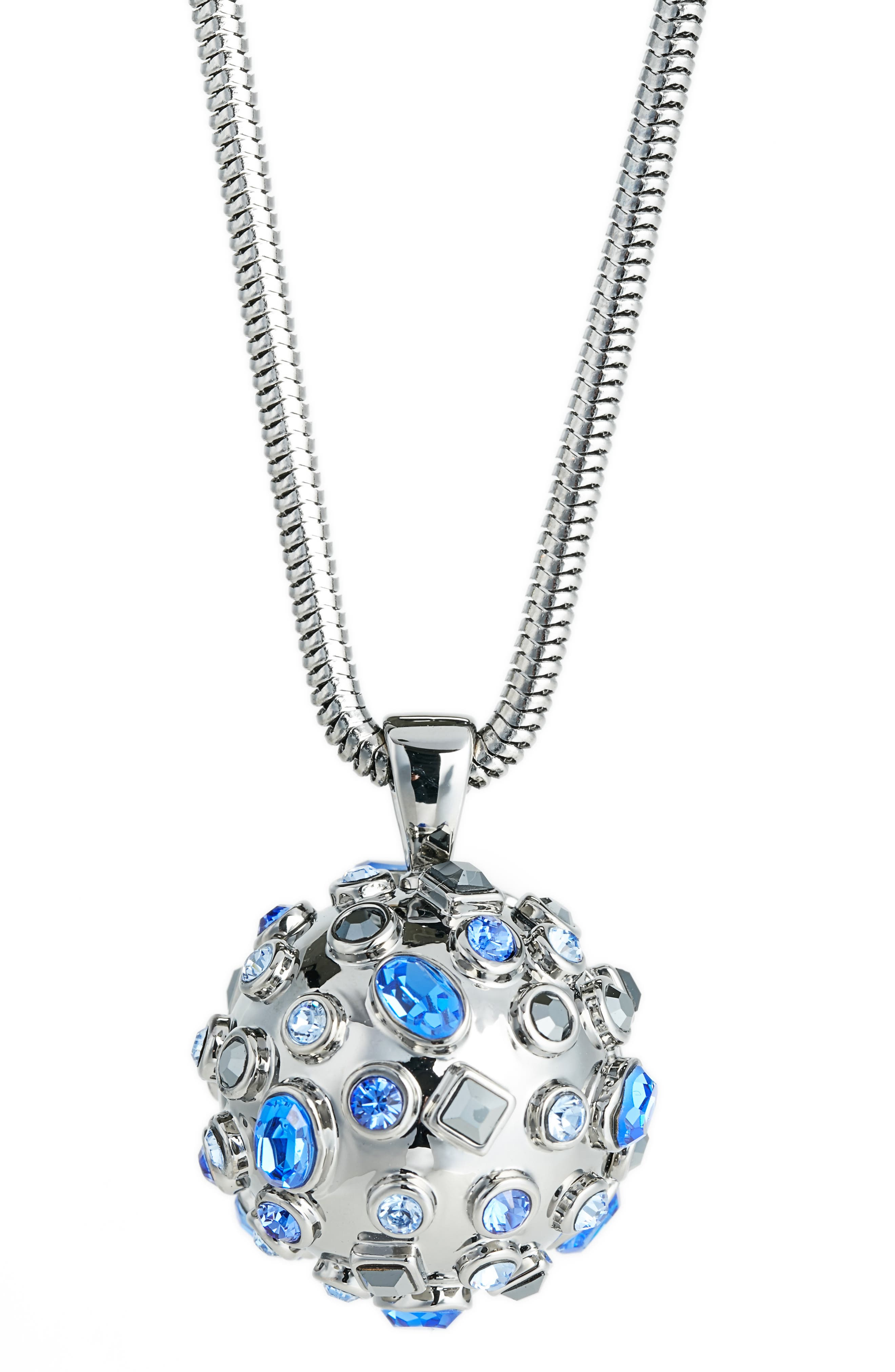 Swarovski Crystal Pendant Necklace,                             Main thumbnail 1, color,                             Ruth Light Sapphire