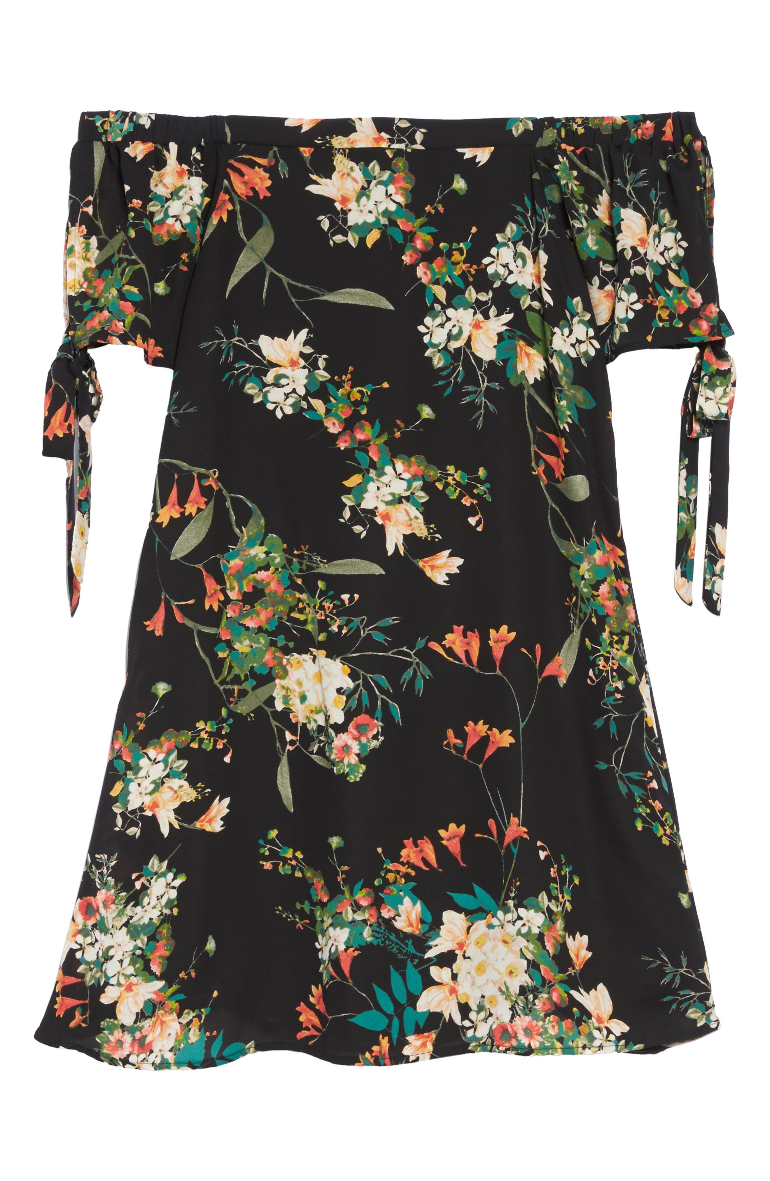 Tie Sleeve Off the Shoulder Dress,                             Alternate thumbnail 6, color,                             Fire Floral