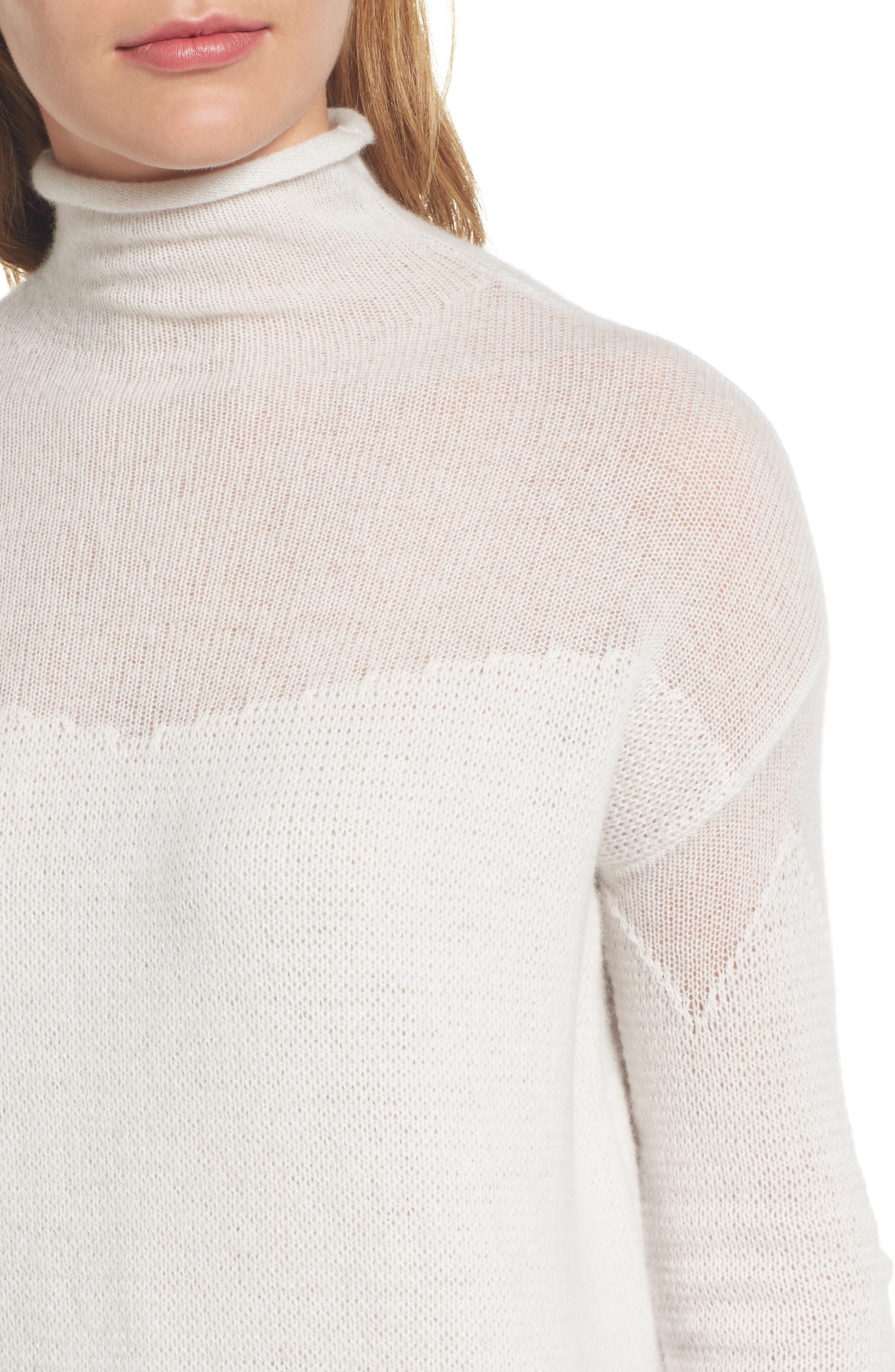 Alternate Image 4  - Halogen® Sheer Yoke Cashmere Sweater (Regular & Petite)