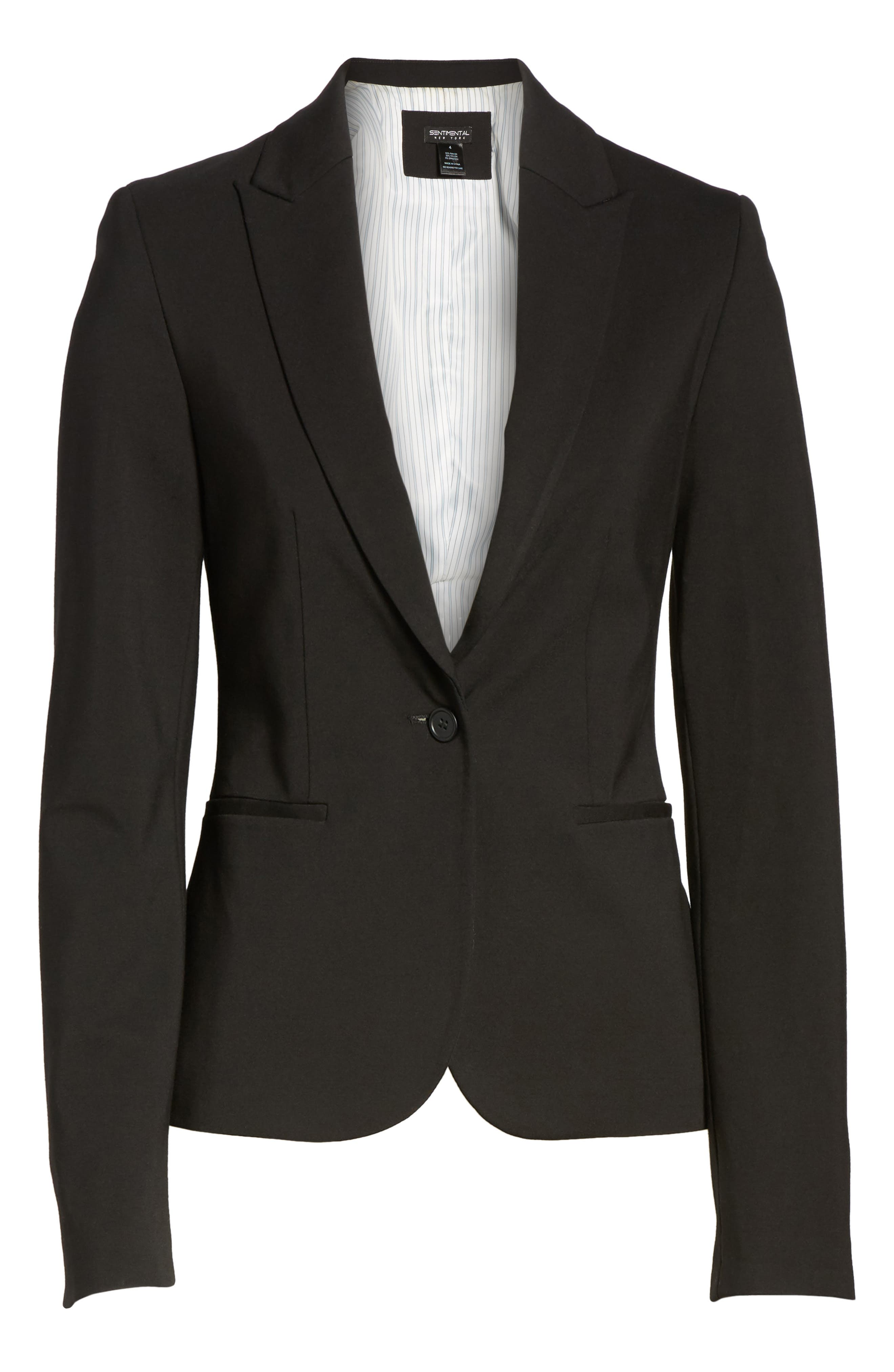 C-Suite Ponte Blazer,                             Alternate thumbnail 6, color,                             Black