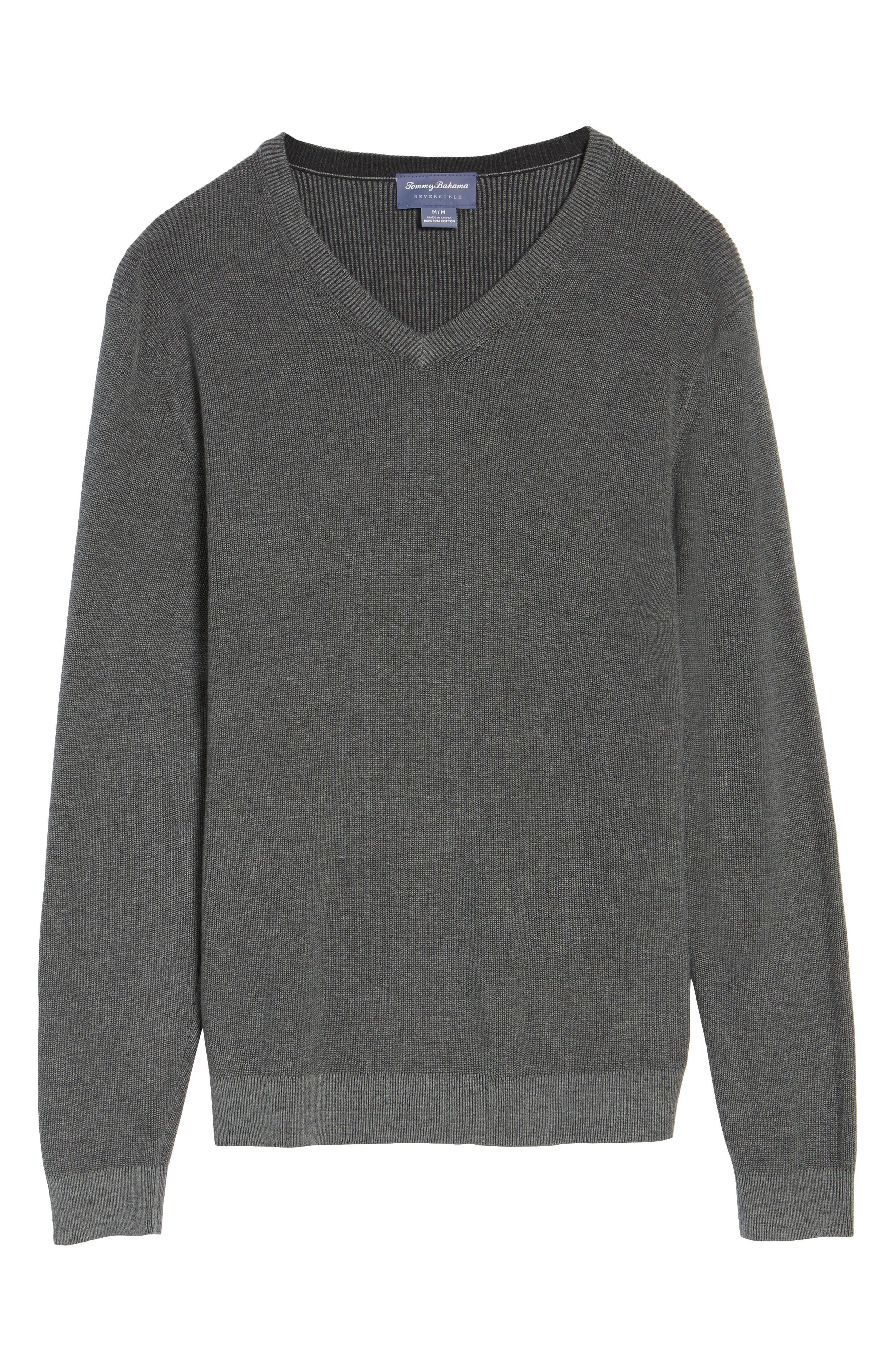 Las Palmas Reversible Sweater,                             Alternate thumbnail 5, color,                             Charcoal Heather
