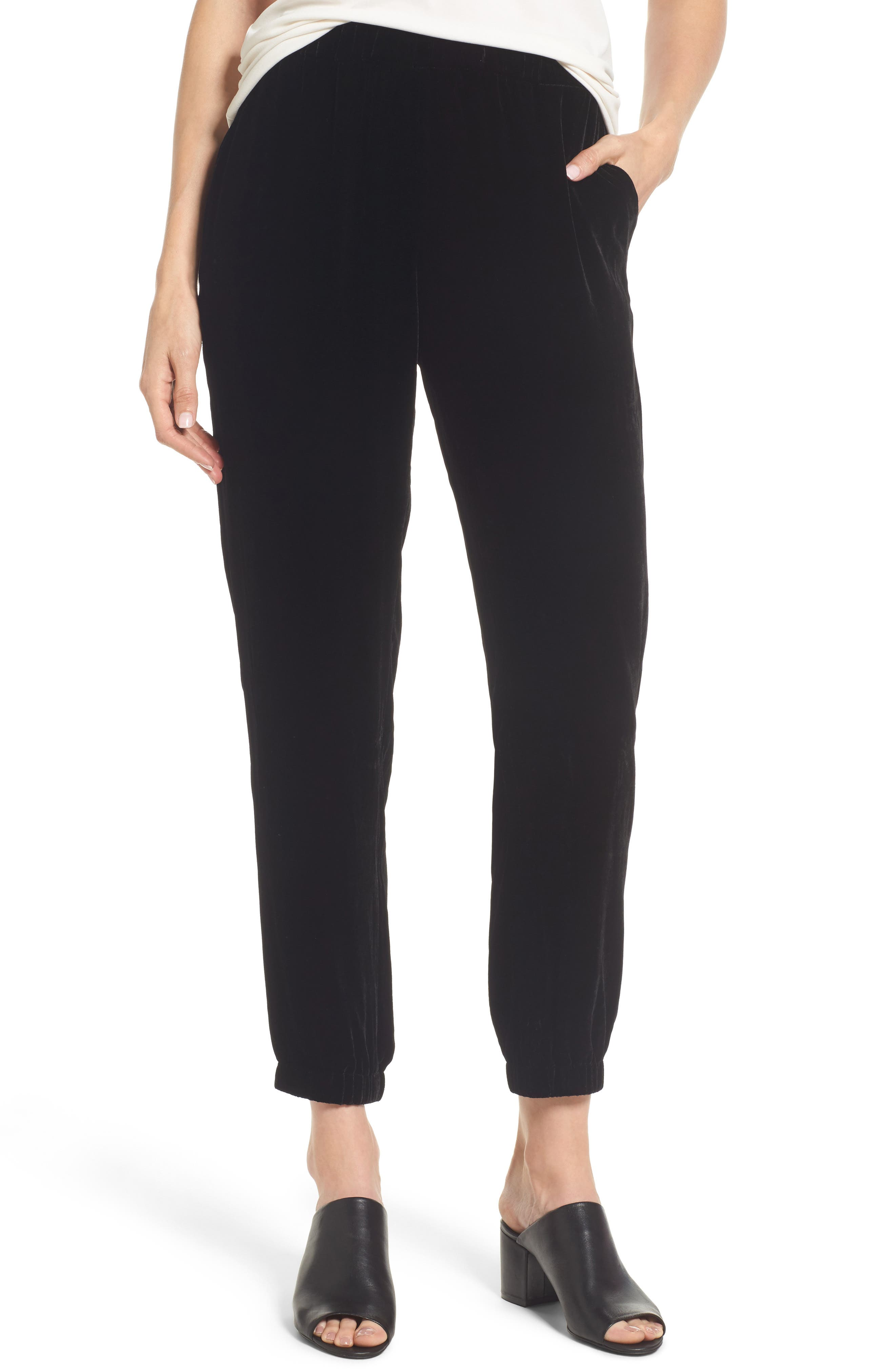 Velvet Jogger Pants,                         Main,                         color, Black
