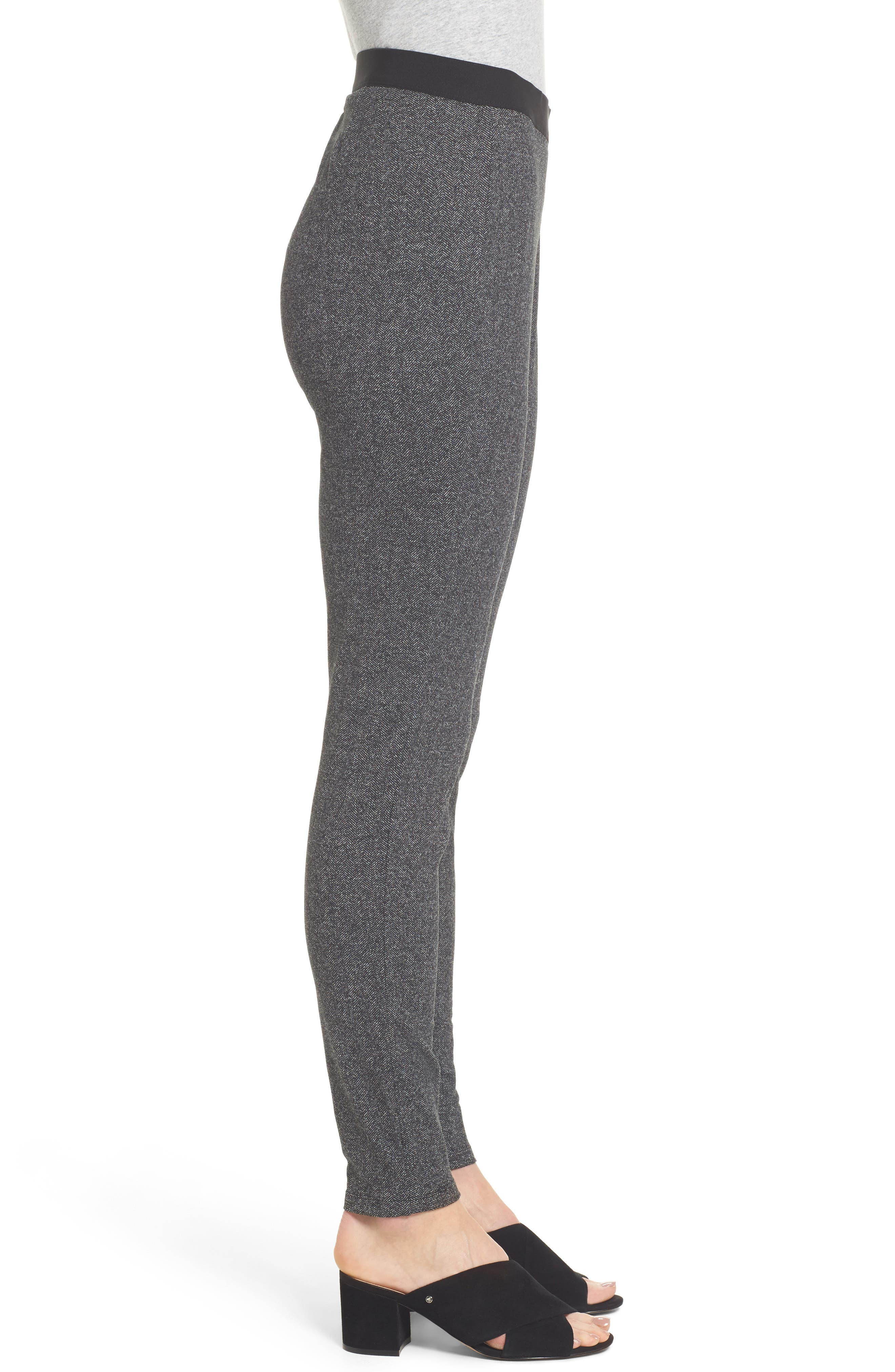 Herringbone Leggings,                             Alternate thumbnail 3, color,                             Charcoal