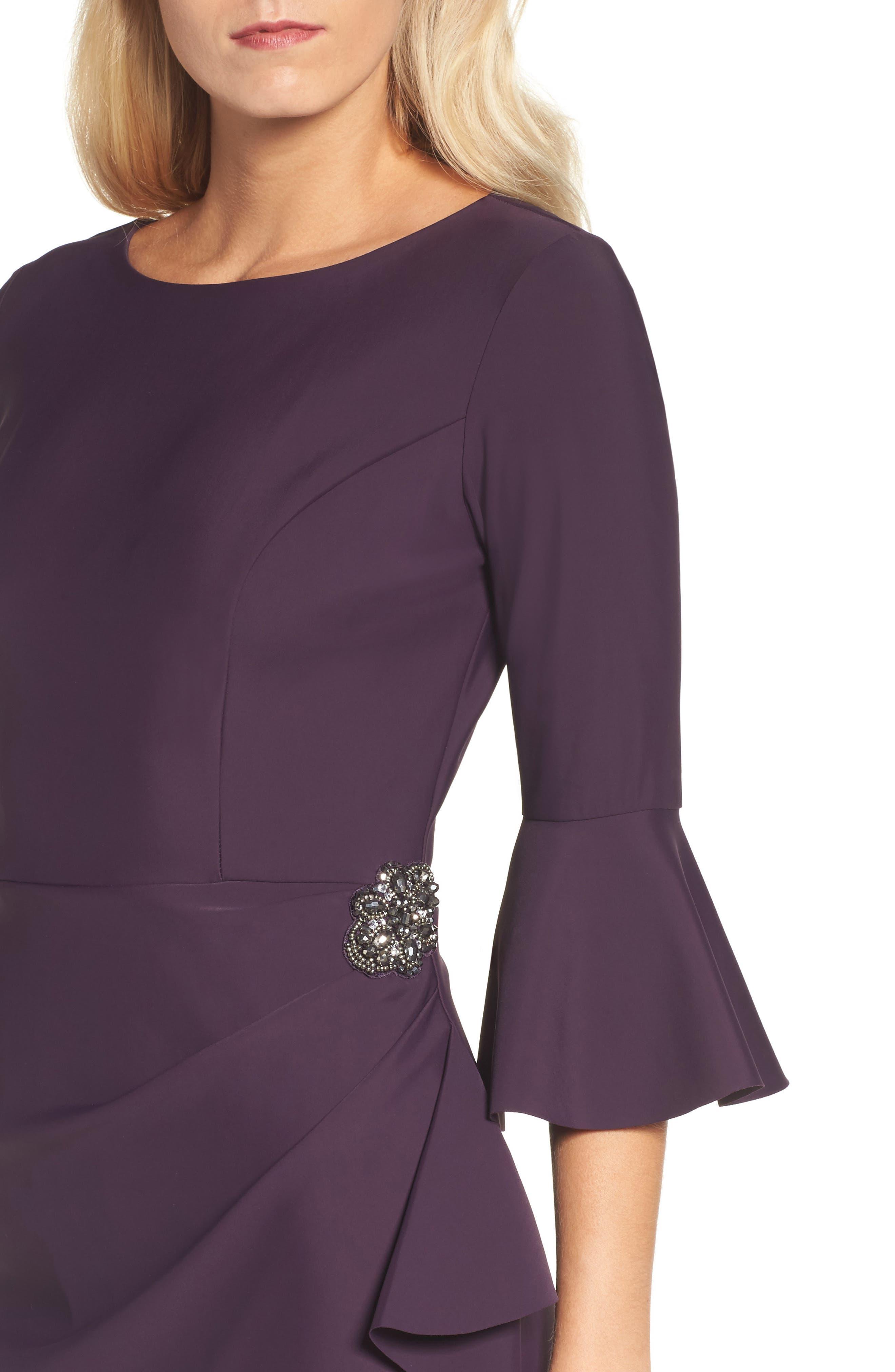 Alternate Image 5  - Alex Evenings Bell Sleeve Sheath Dress (Regular & Petite)