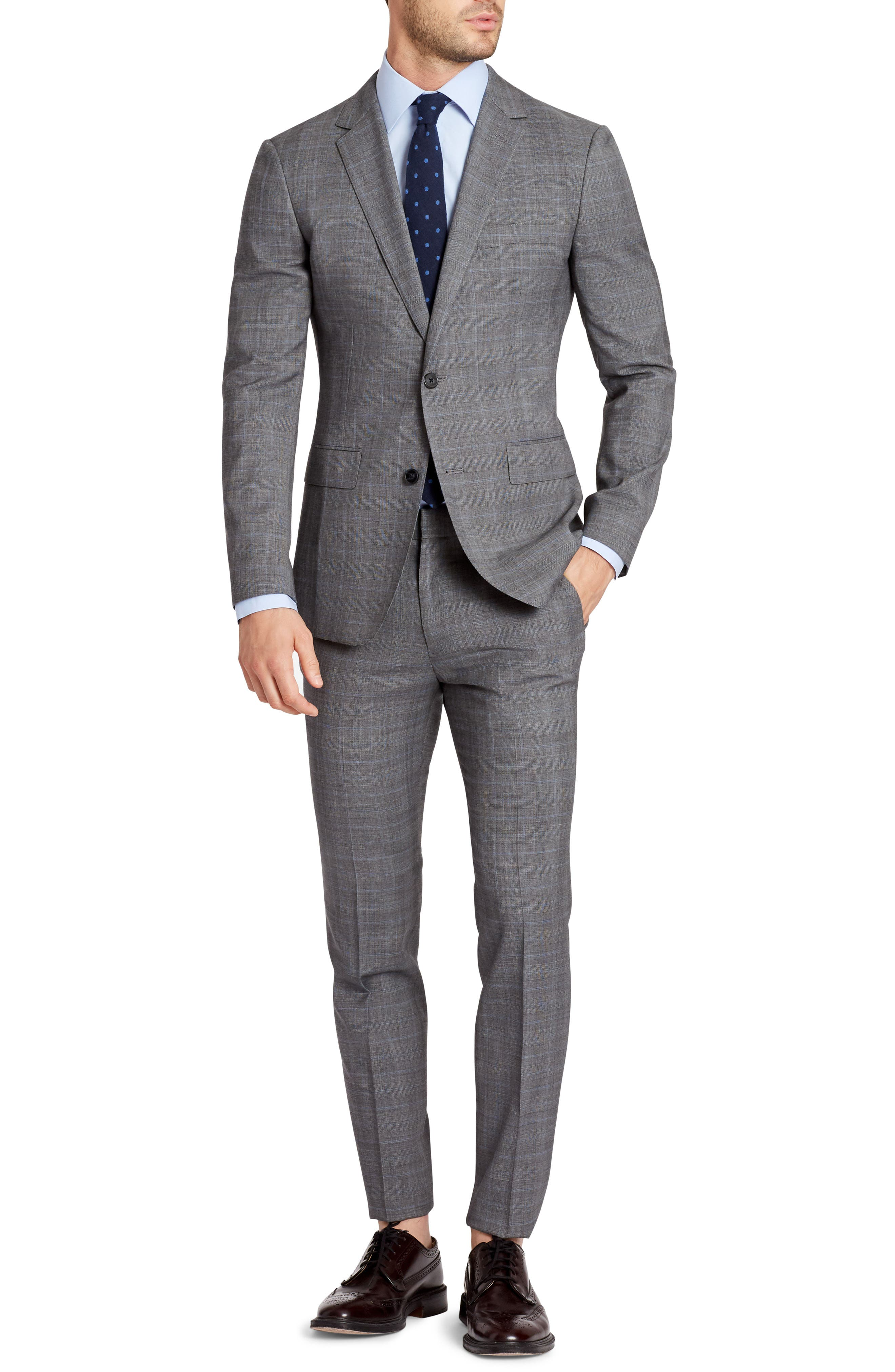 Jetsetter Flat Front Plaid Stretch Wool Trousers,                             Alternate thumbnail 4, color,                             Mid Grey Glen Plaid