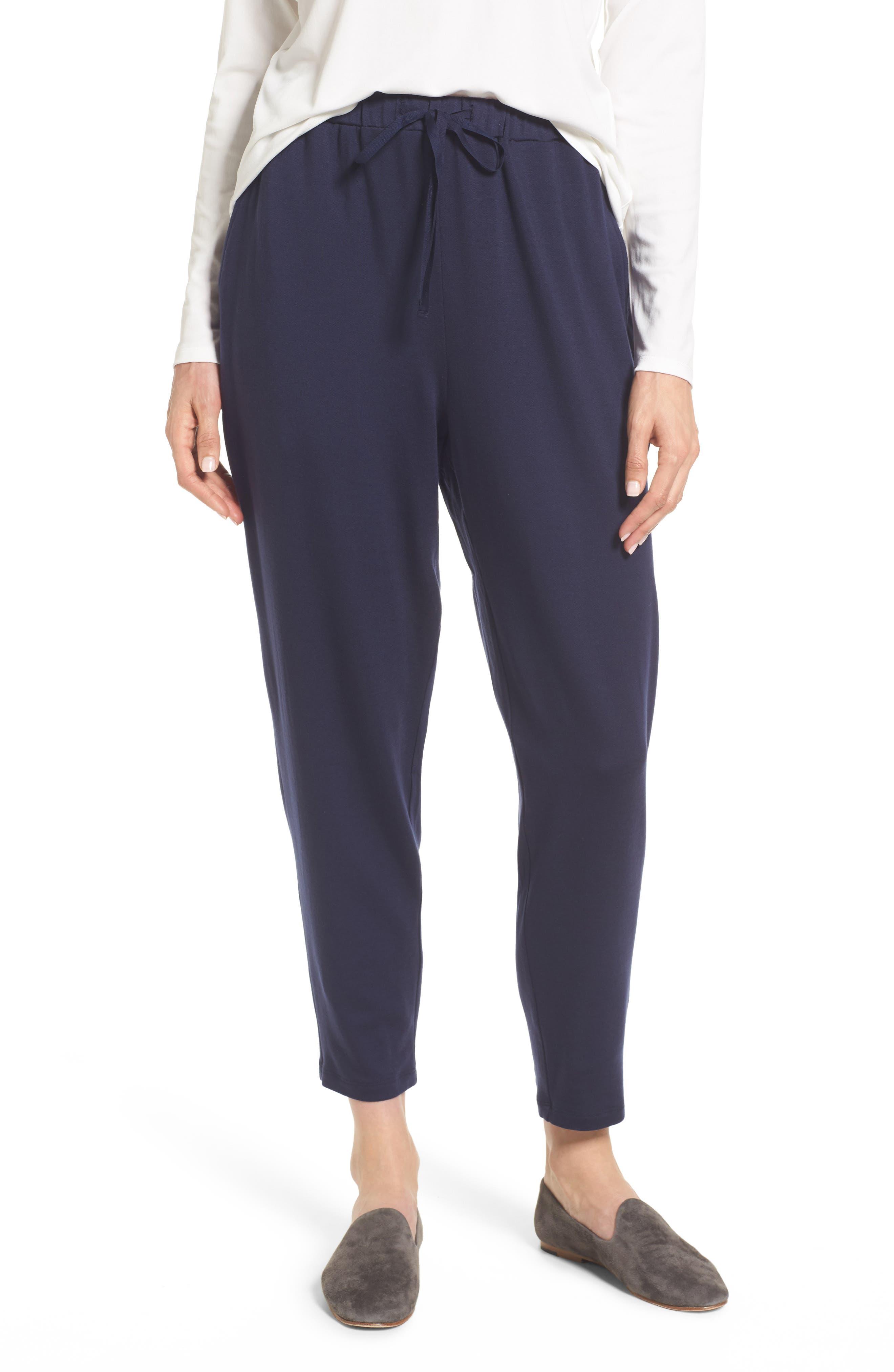 Alternate Image 1 Selected - Eileen Fisher Drawstring Waist Knit Pants (Regular & Petite)