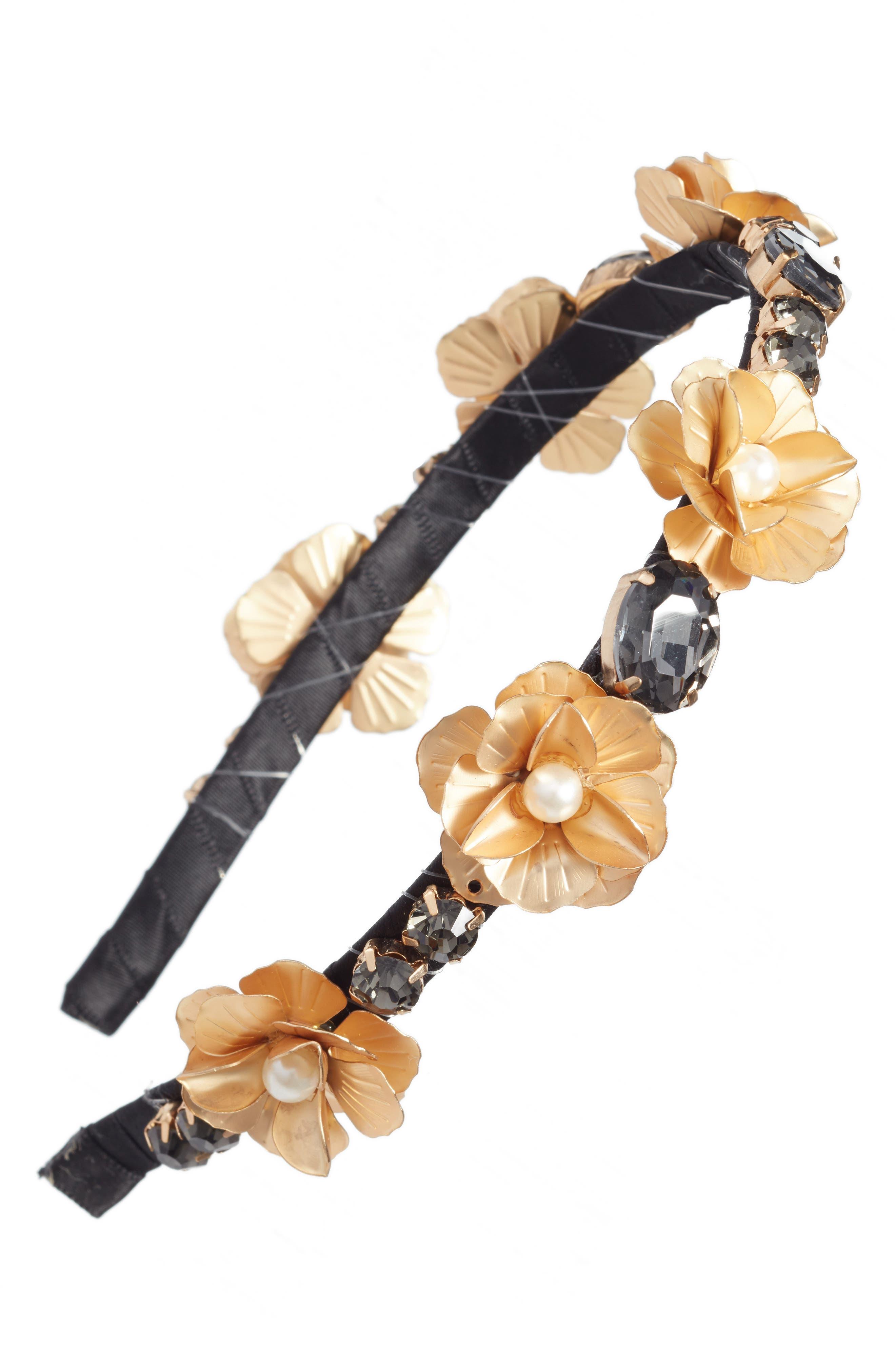 Flower Crystal Headband,                         Main,                         color, Black/Gold