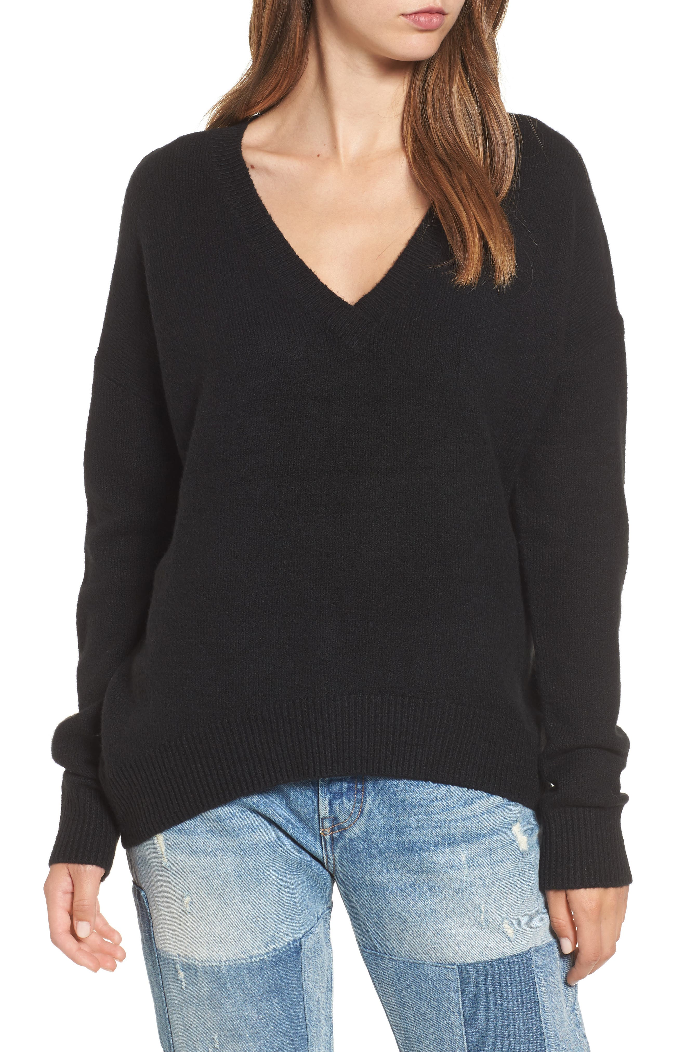 V-Neck High/Low Sweater,                             Main thumbnail 1, color,                             Black