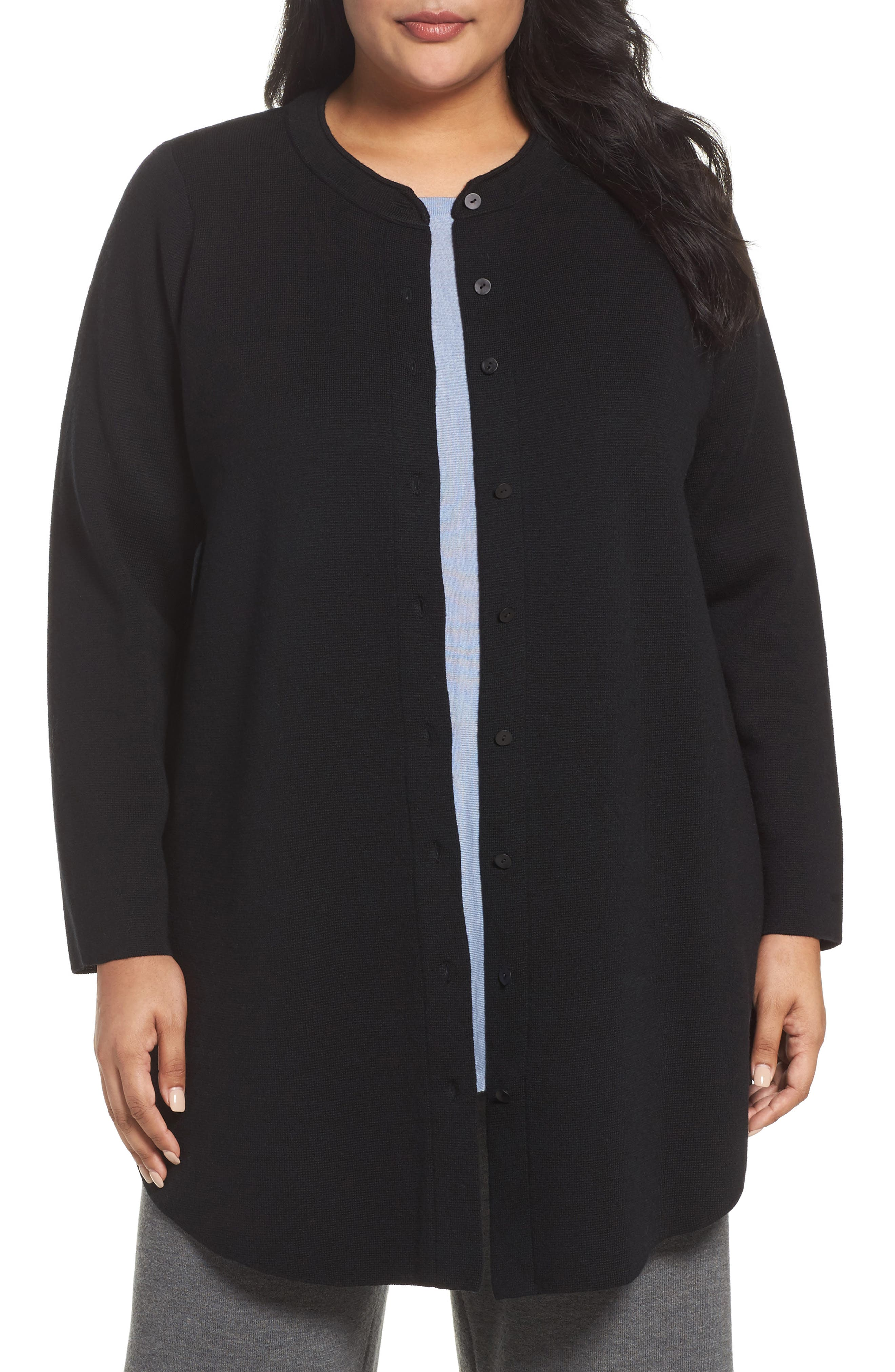 Alternate Image 1 Selected - Eileen Fisher Mandarin Collar Merino Cardigan (Plus Size)