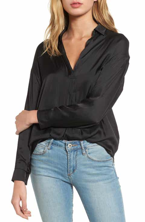 Lush Satin Henley - Shirts & Blouses Work & Business Casual Clothes For Women