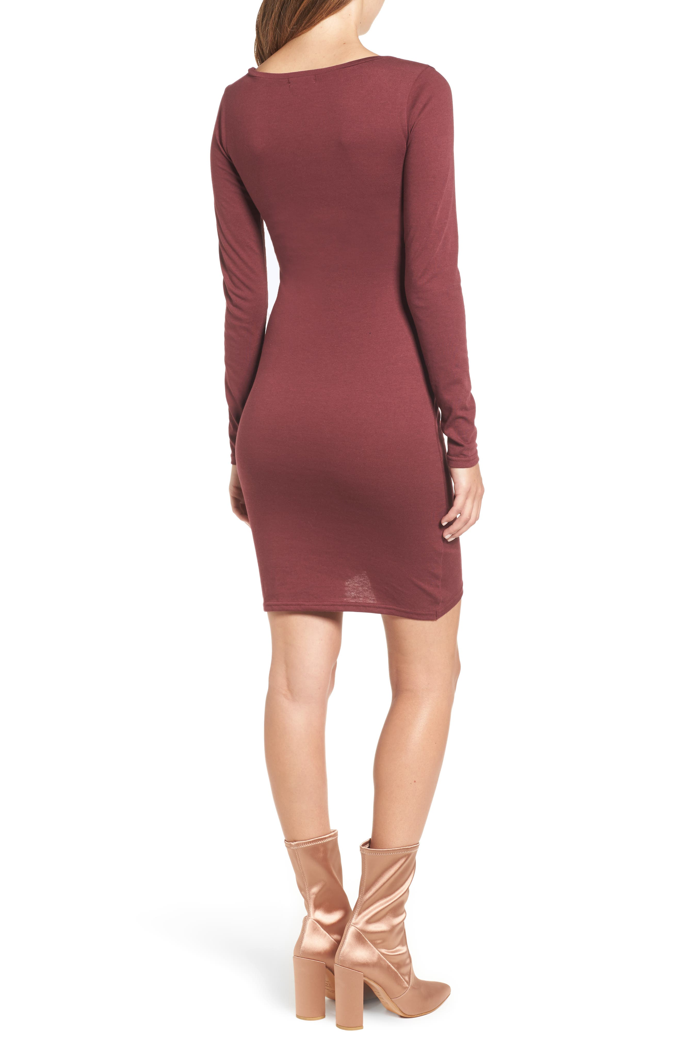 Ruched Long Sleeve Dress,                             Alternate thumbnail 2, color,                             Red Tannin
