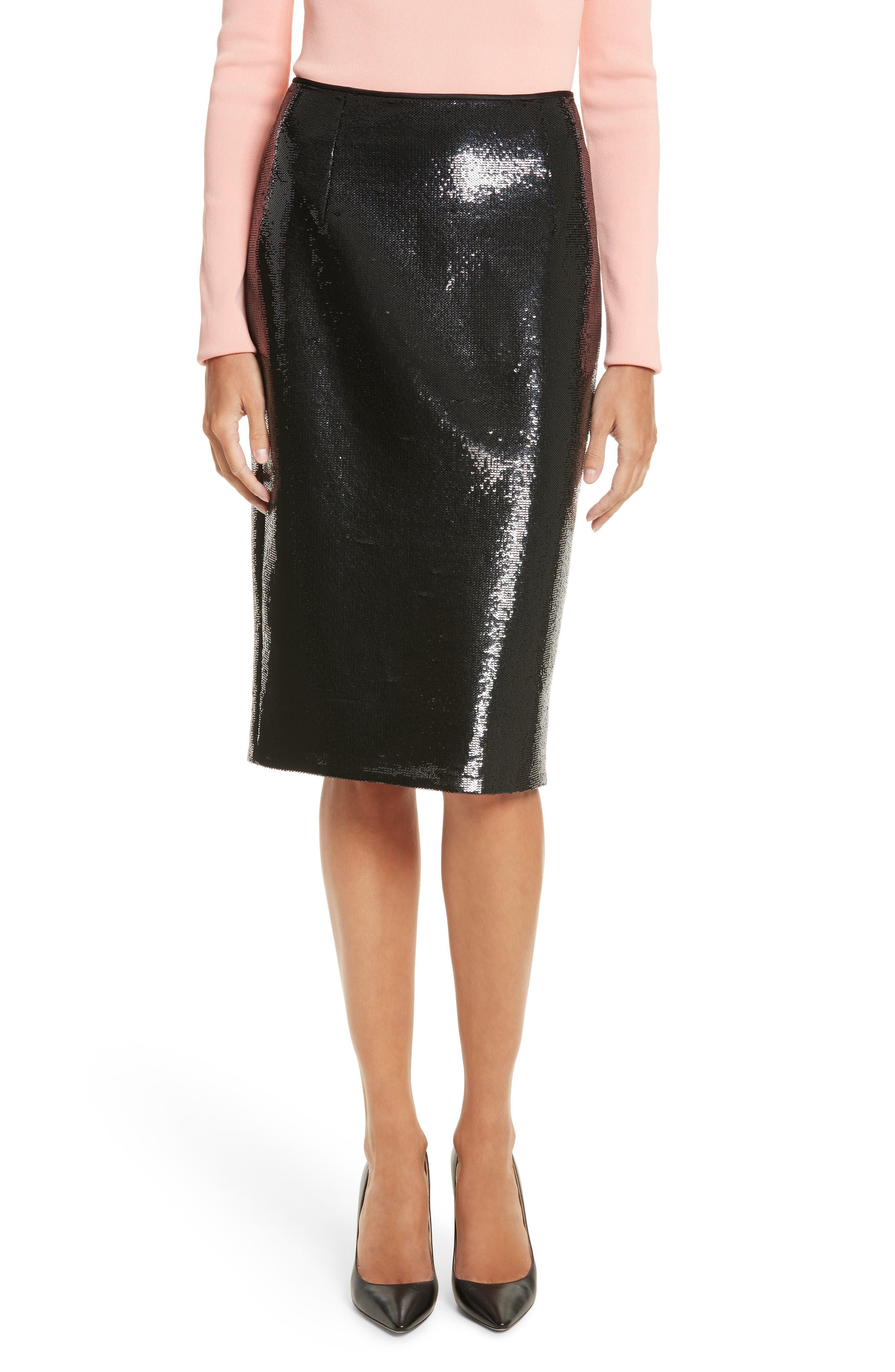 Diane von Furstenberg Sequin Pencil Skirt,                         Main,                         color, Black