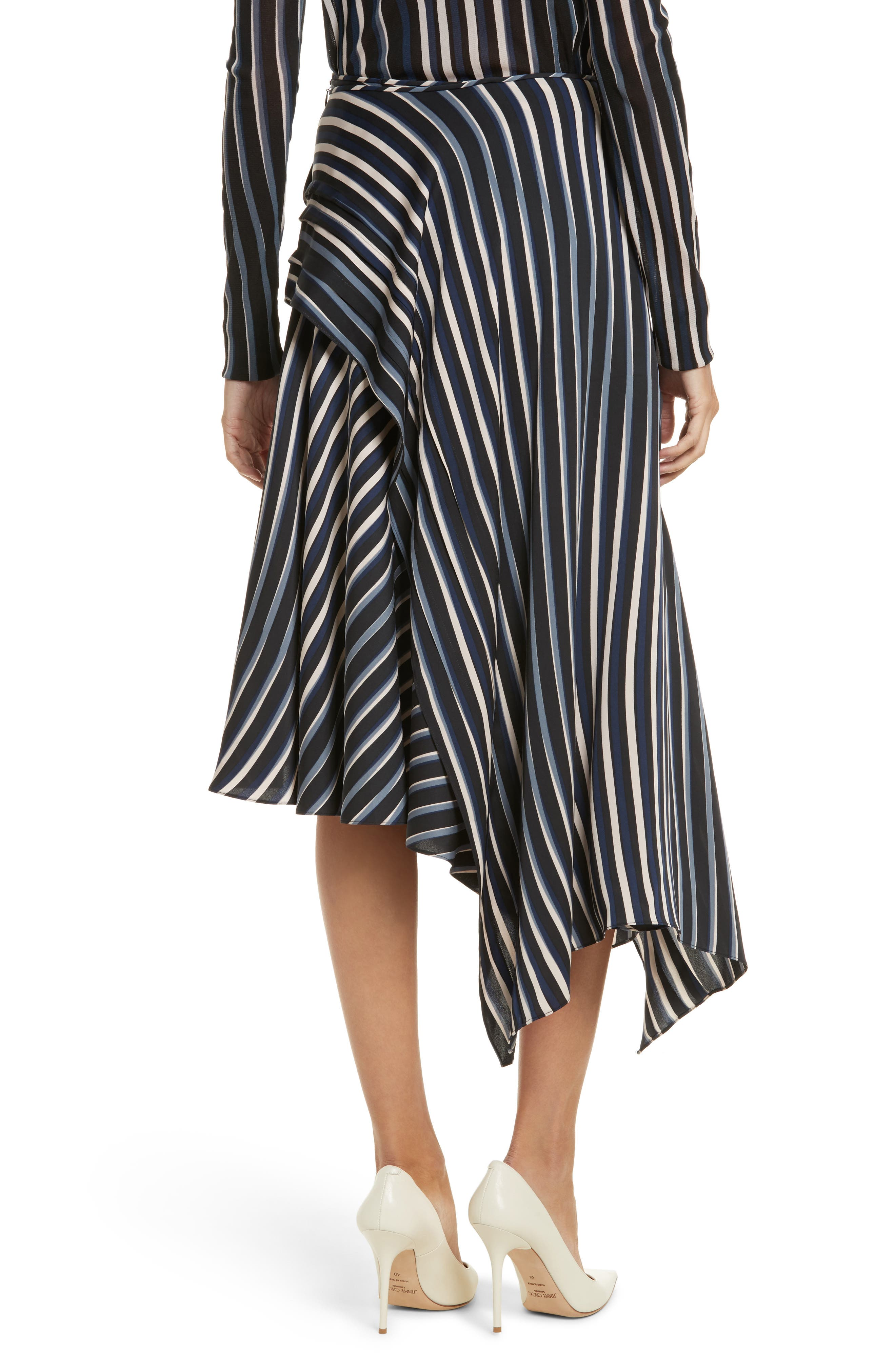 Striped Asymmetrical Midi Skirt,                             Alternate thumbnail 2, color,                             Whiston Black