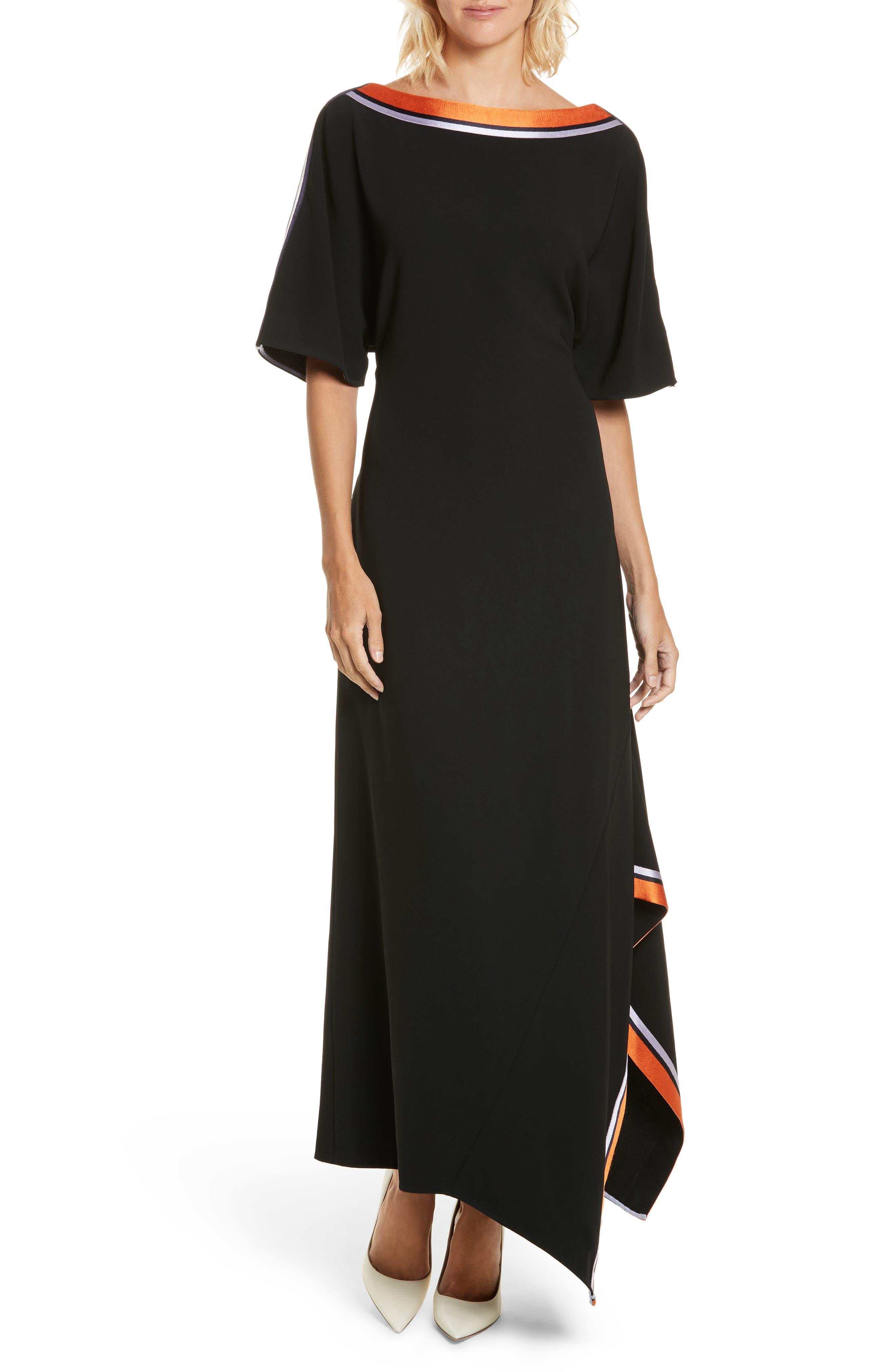 Open Back Ribbon Trim Dress,                             Main thumbnail 1, color,                             Black