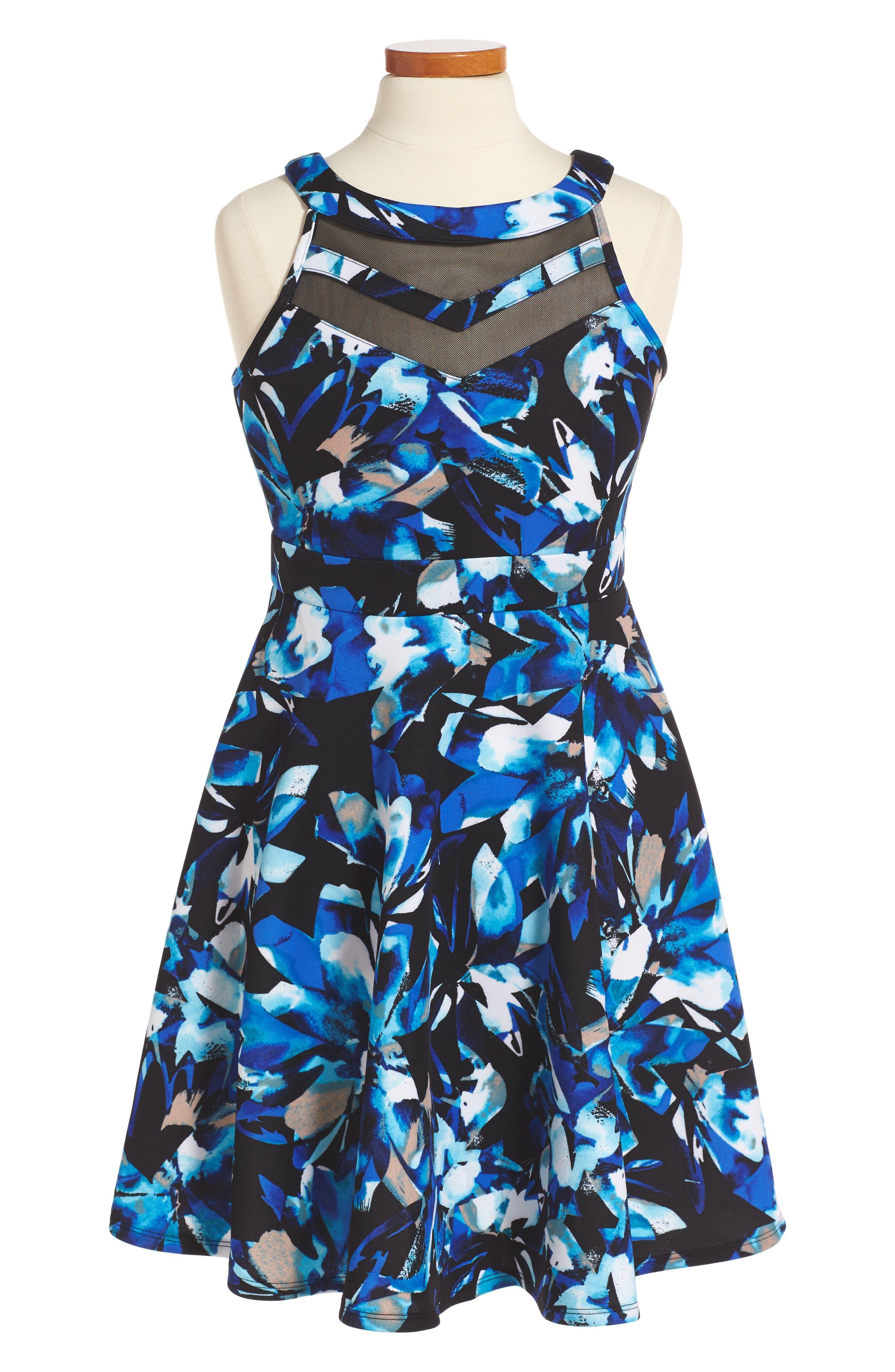 Love, Nickie Lew Mesh Inset Party Dress (Big Girls)