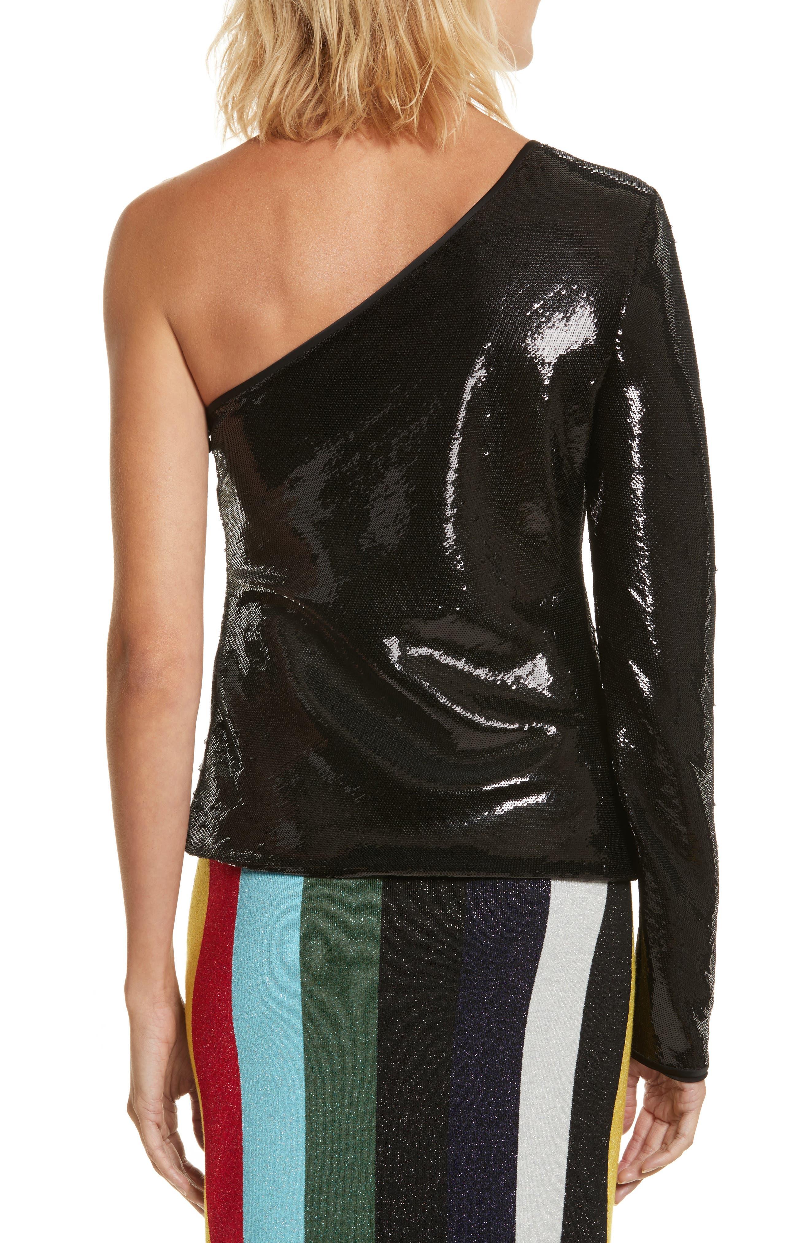 Sequin One-Shoulder Top,                             Alternate thumbnail 2, color,                             Black