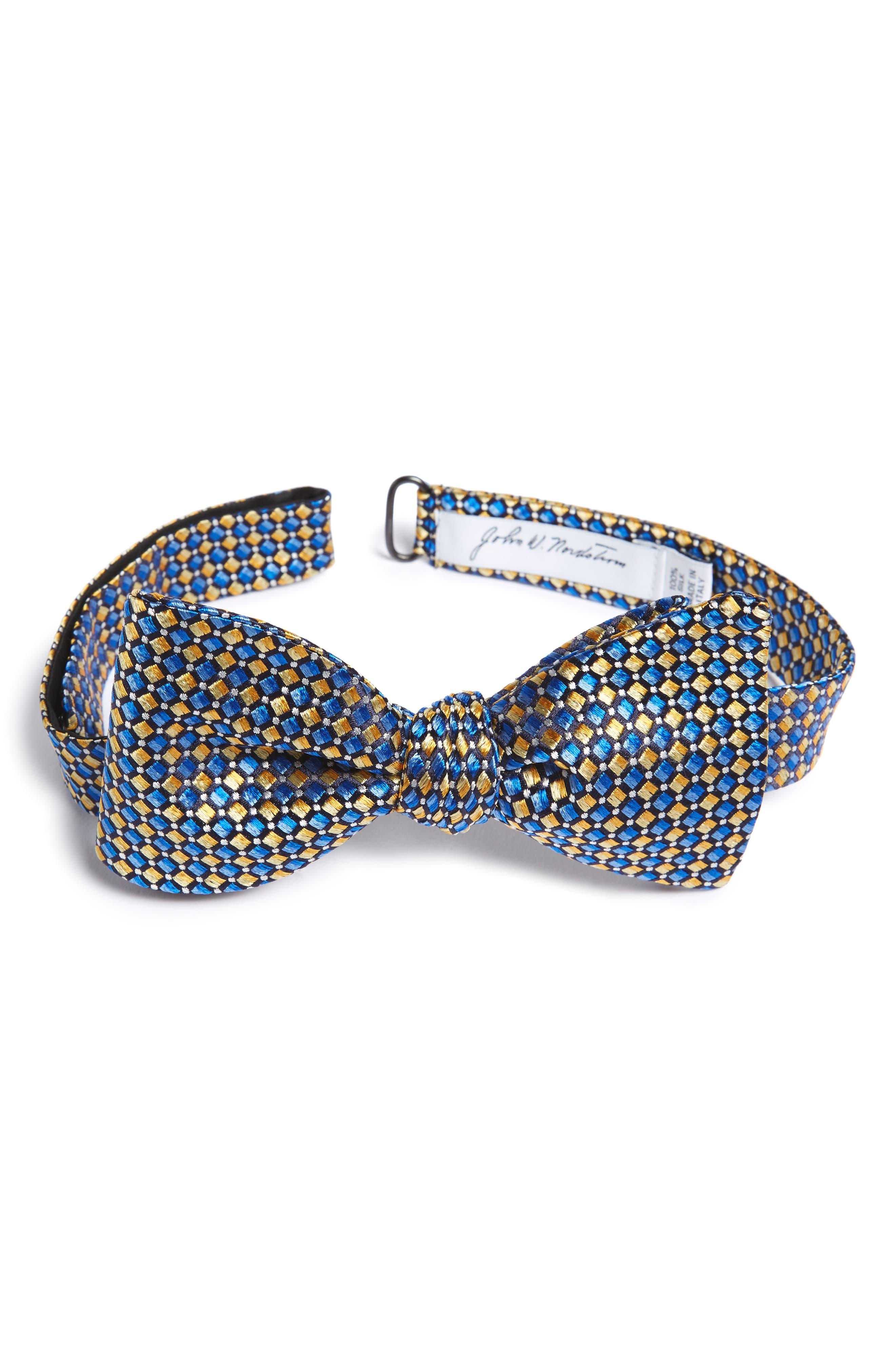 Geometric Silk Bow Tie,                         Main,                         color, Yellow