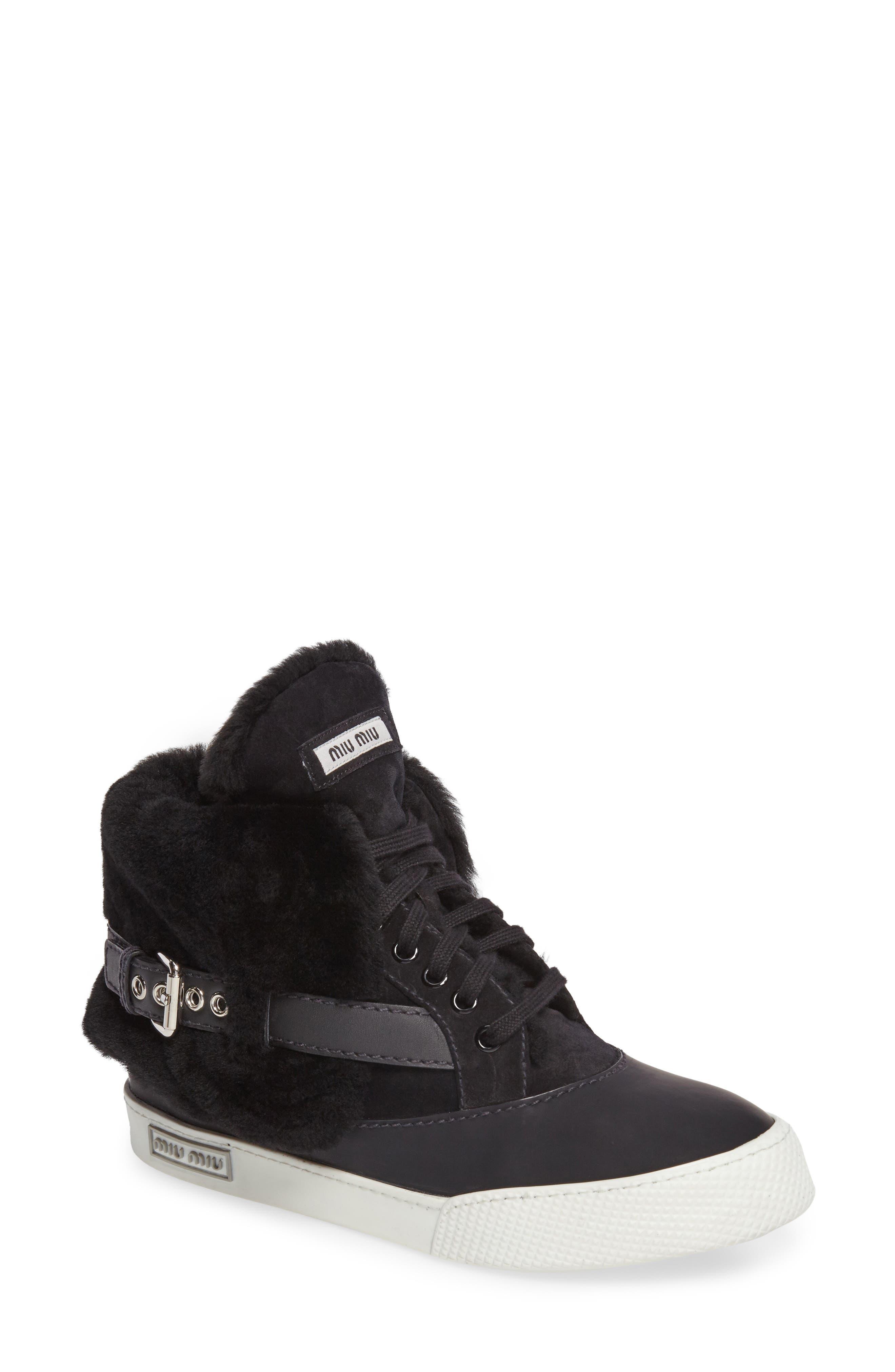 Genuine Shearling Cuffed Buckle Strap Sneaker,                             Main thumbnail 1, color,                             Black