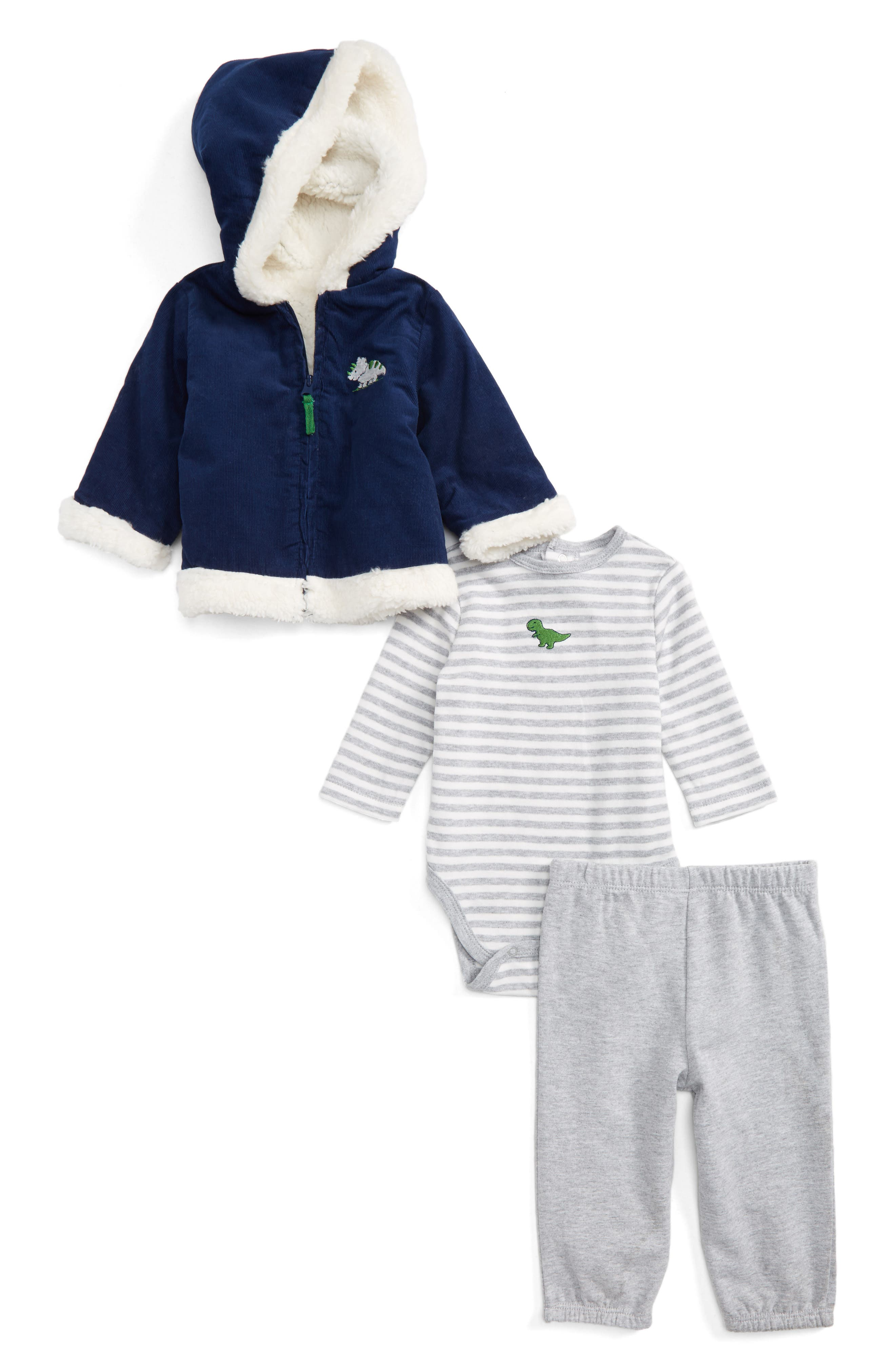 Main Image - Little Me Dashing Jacket, Bodysuit & Pants Set (Baby Boys)