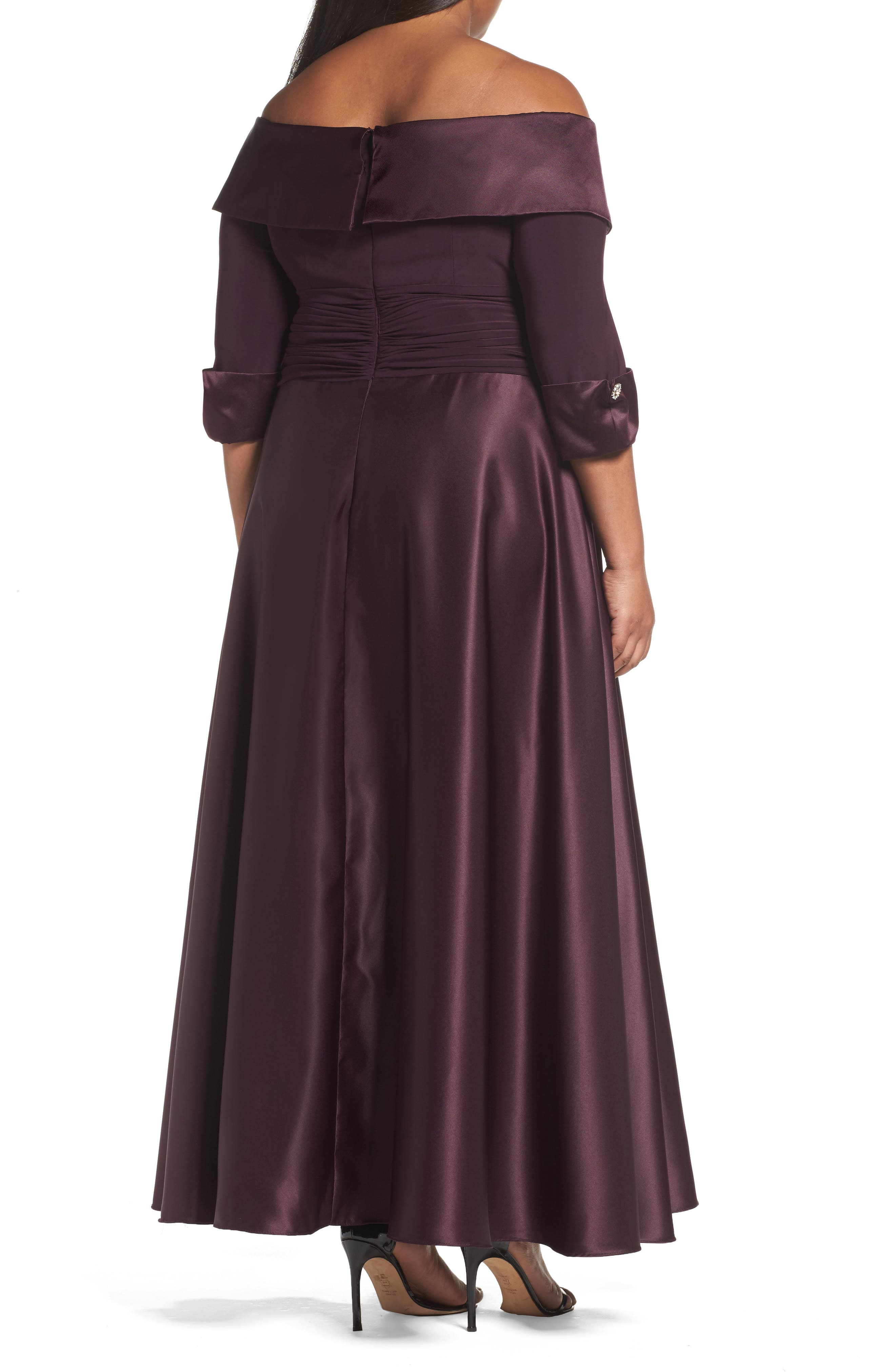 Off the Shoulder Mixed Media Gown,                             Alternate thumbnail 2, color,                             Plum