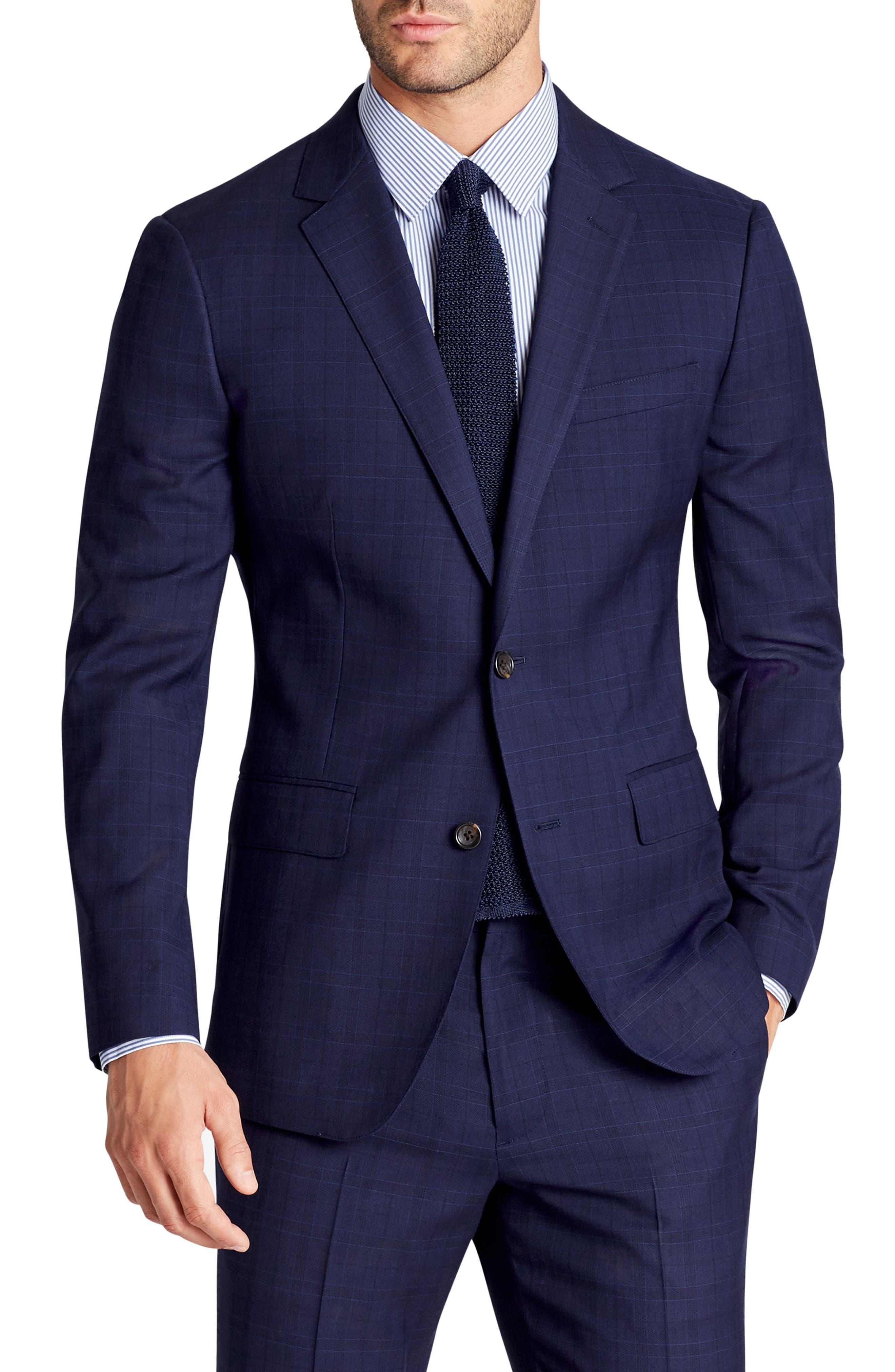 Jetsetter Slim Fit Plaid Stretch Wool Sport Coat,                         Main,                         color, Blue Plaid