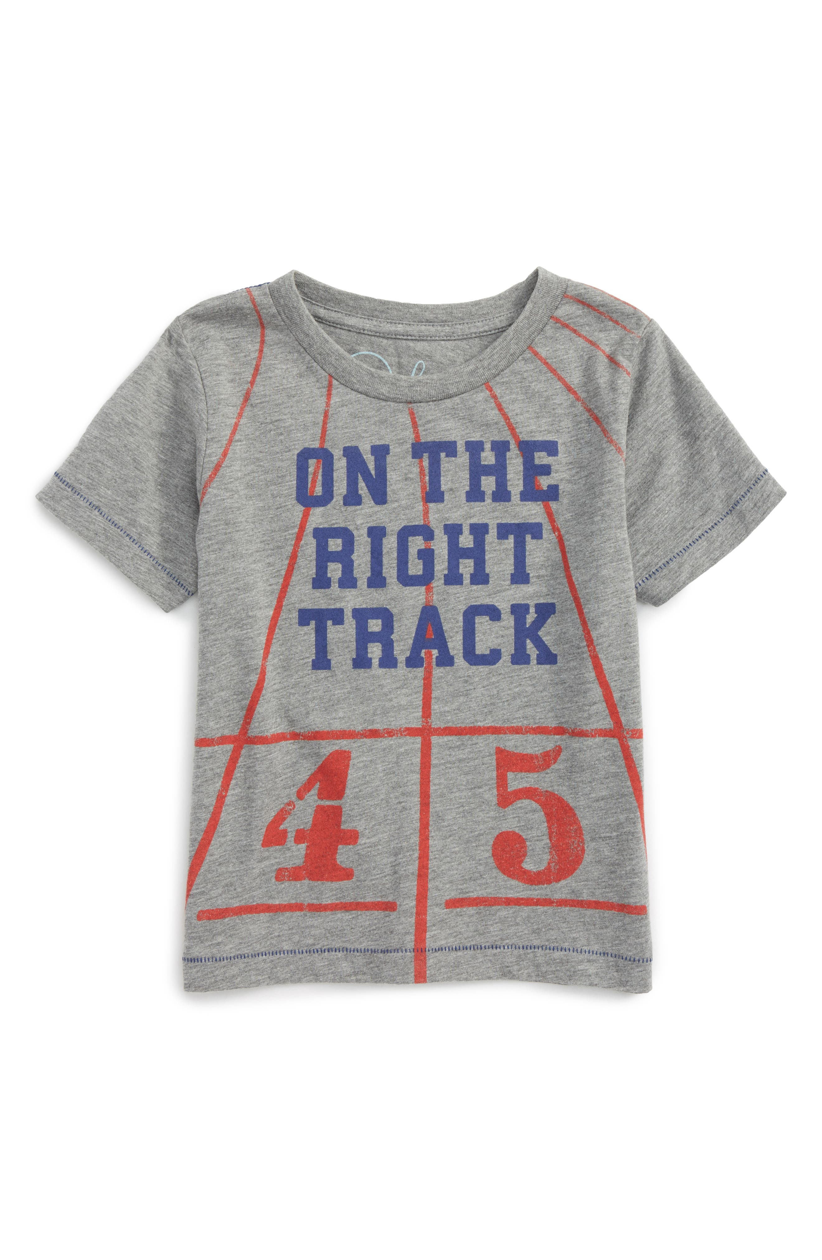 On the Right Track Graphic T-Shirt,                             Main thumbnail 1, color,                             Grey