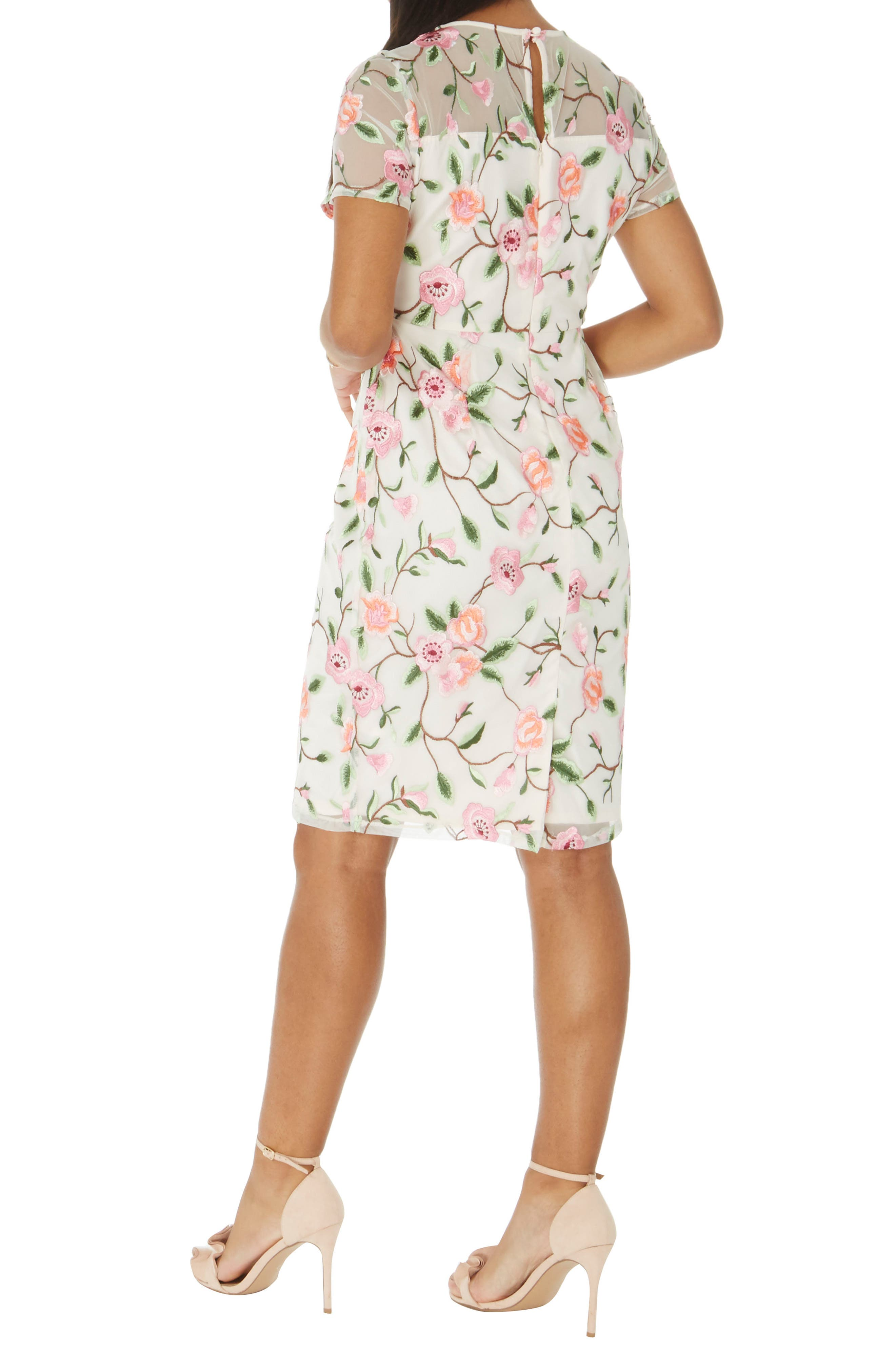 Floral Embroidered Sheath Dress,                             Alternate thumbnail 2, color,                             White