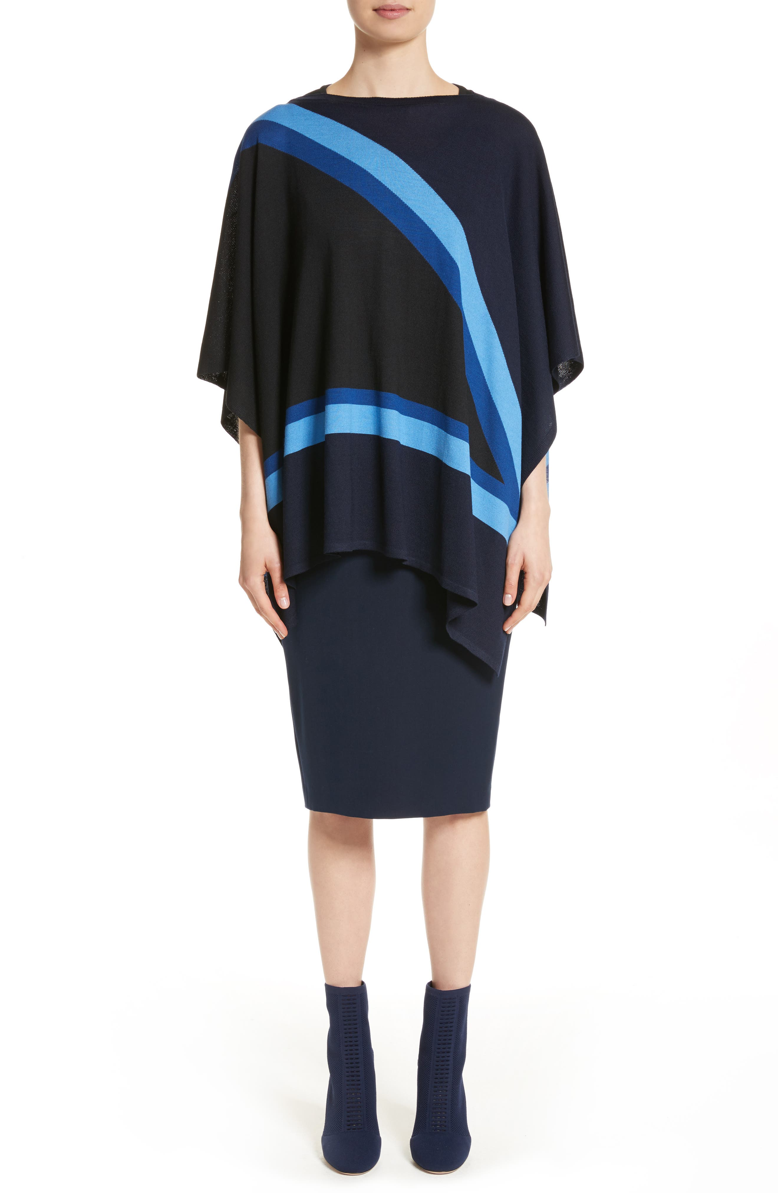 Intarsia Knit Jersey Poncho,                             Alternate thumbnail 8, color,                             Navy Multi