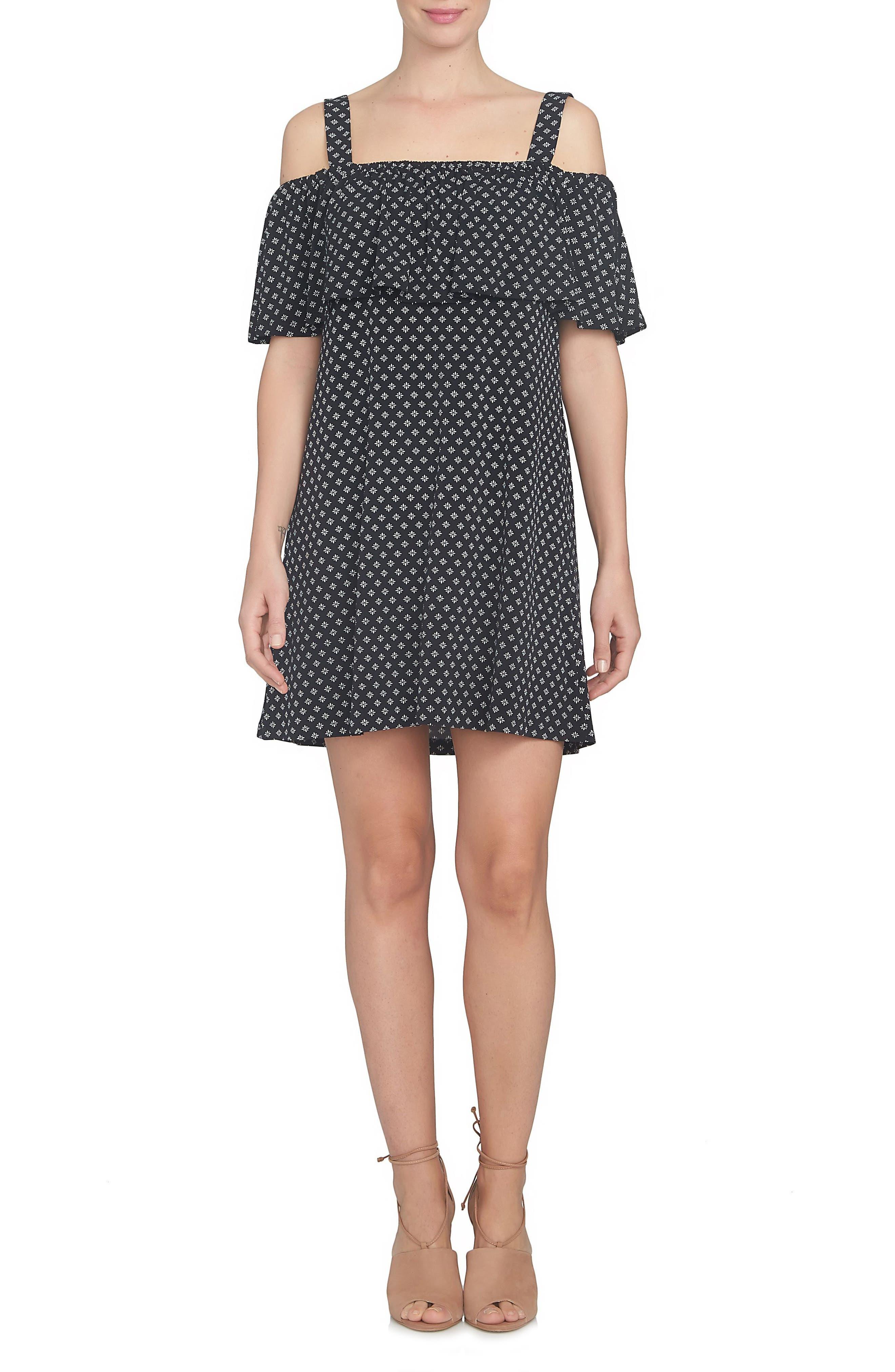 CeCe Ruffle Knit Off the Shoulder Dress