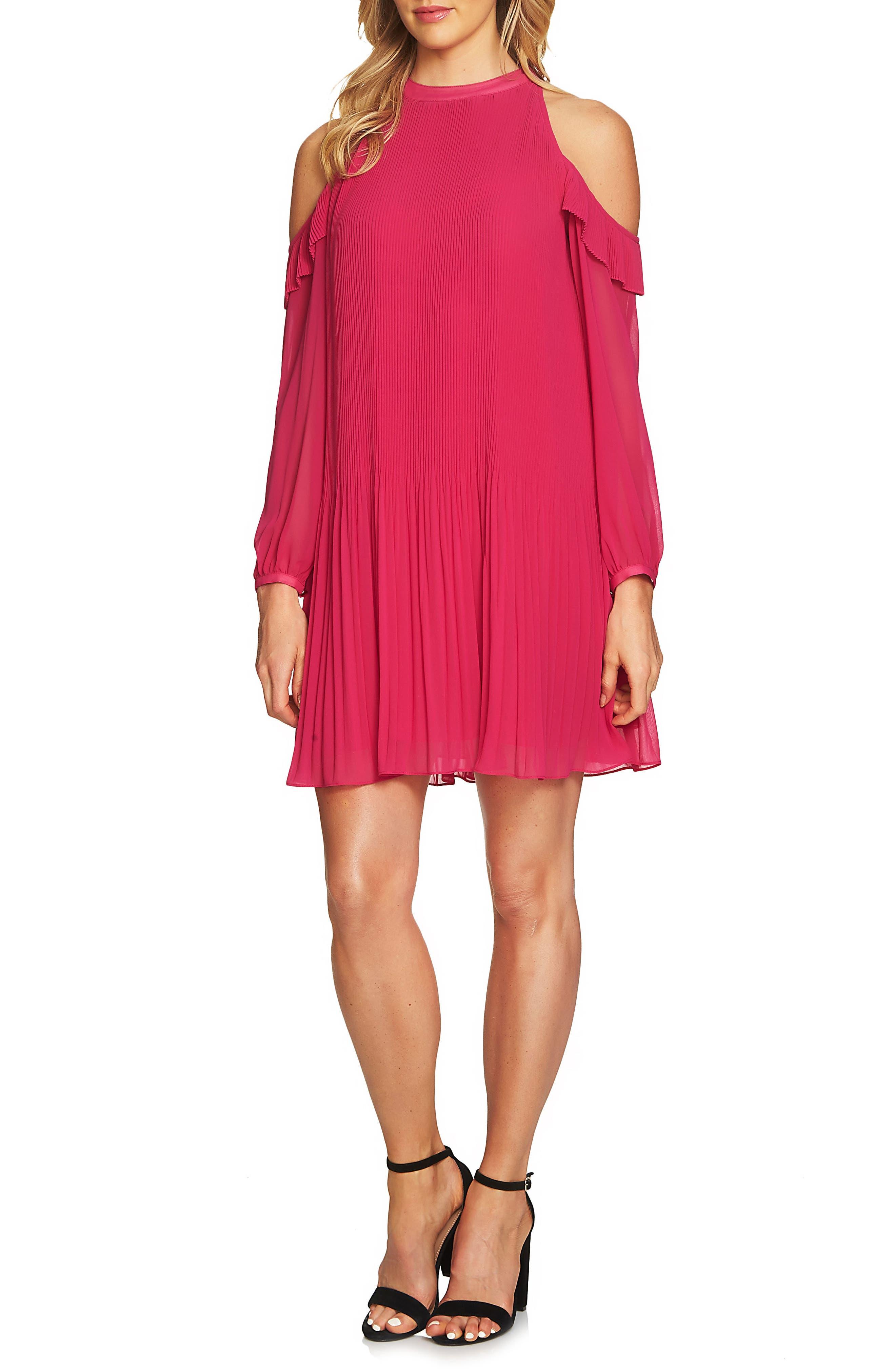 Noelle Cold Shoulder Chiffon Trapeze Dress,                         Main,                         color, Rose Dahlia