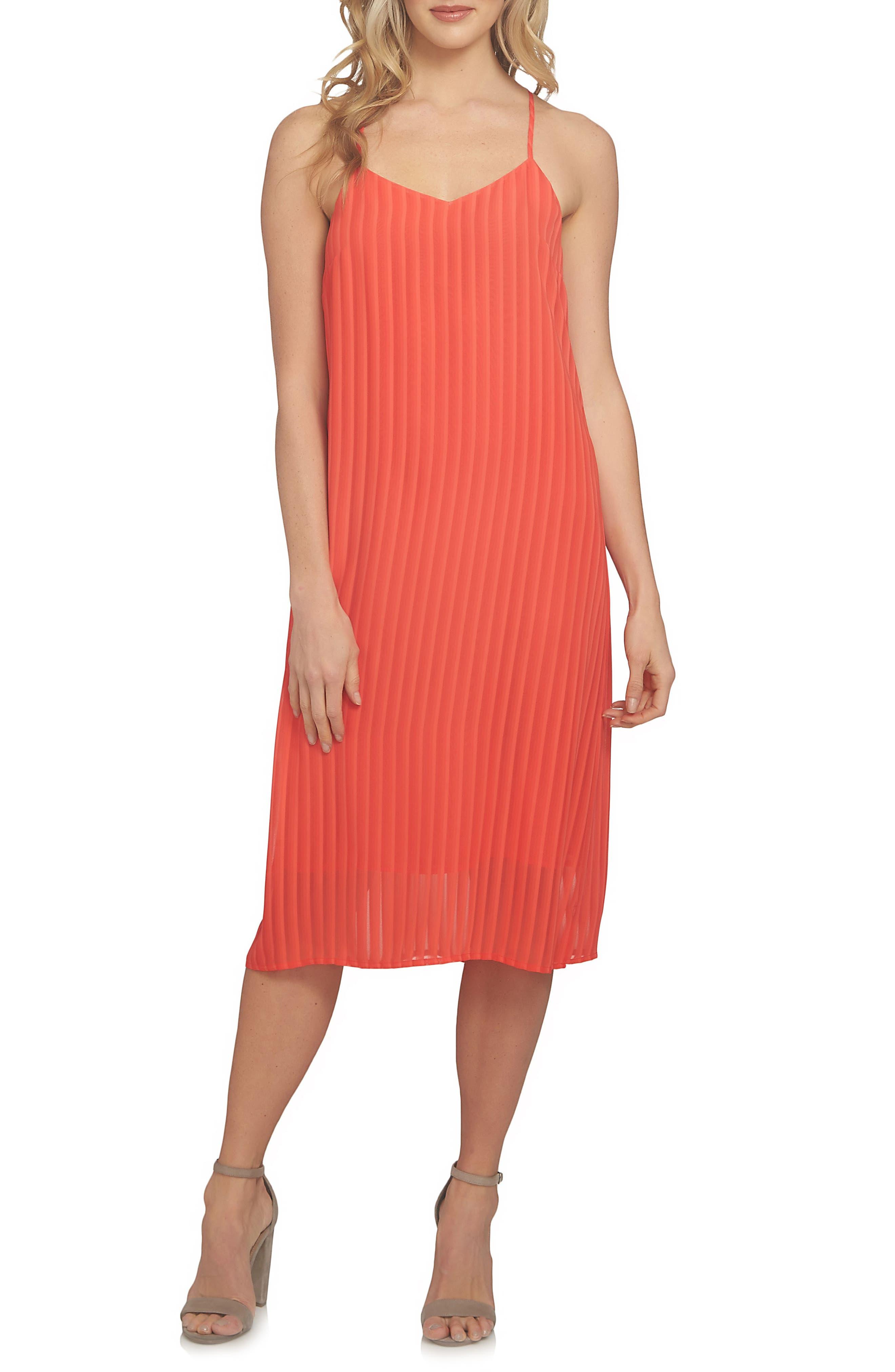 Lacey Chiffon Midi Dress,                         Main,                         color, Fiery Red