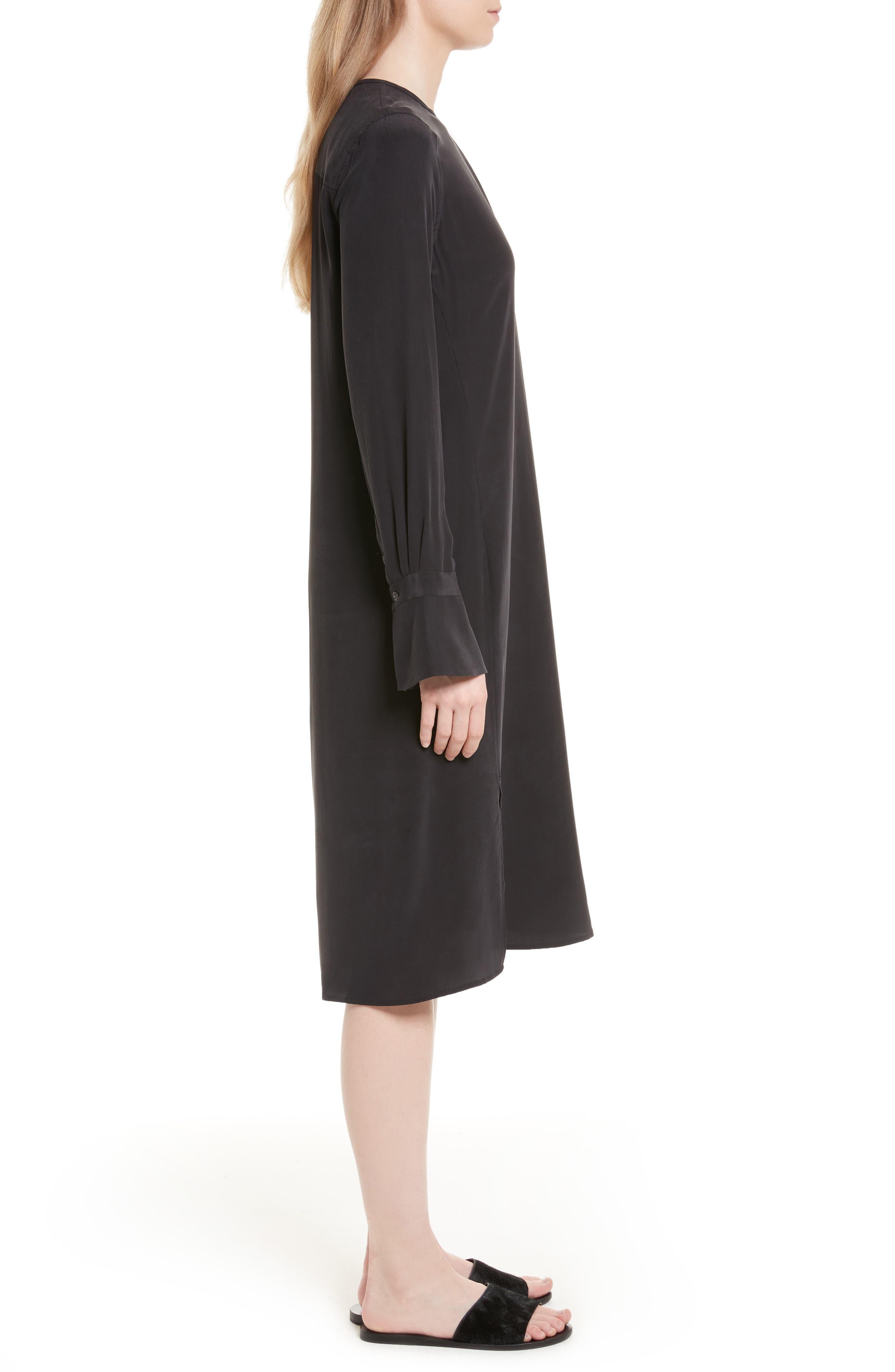 Granger Silk Dress,                             Alternate thumbnail 3, color,                             True Black