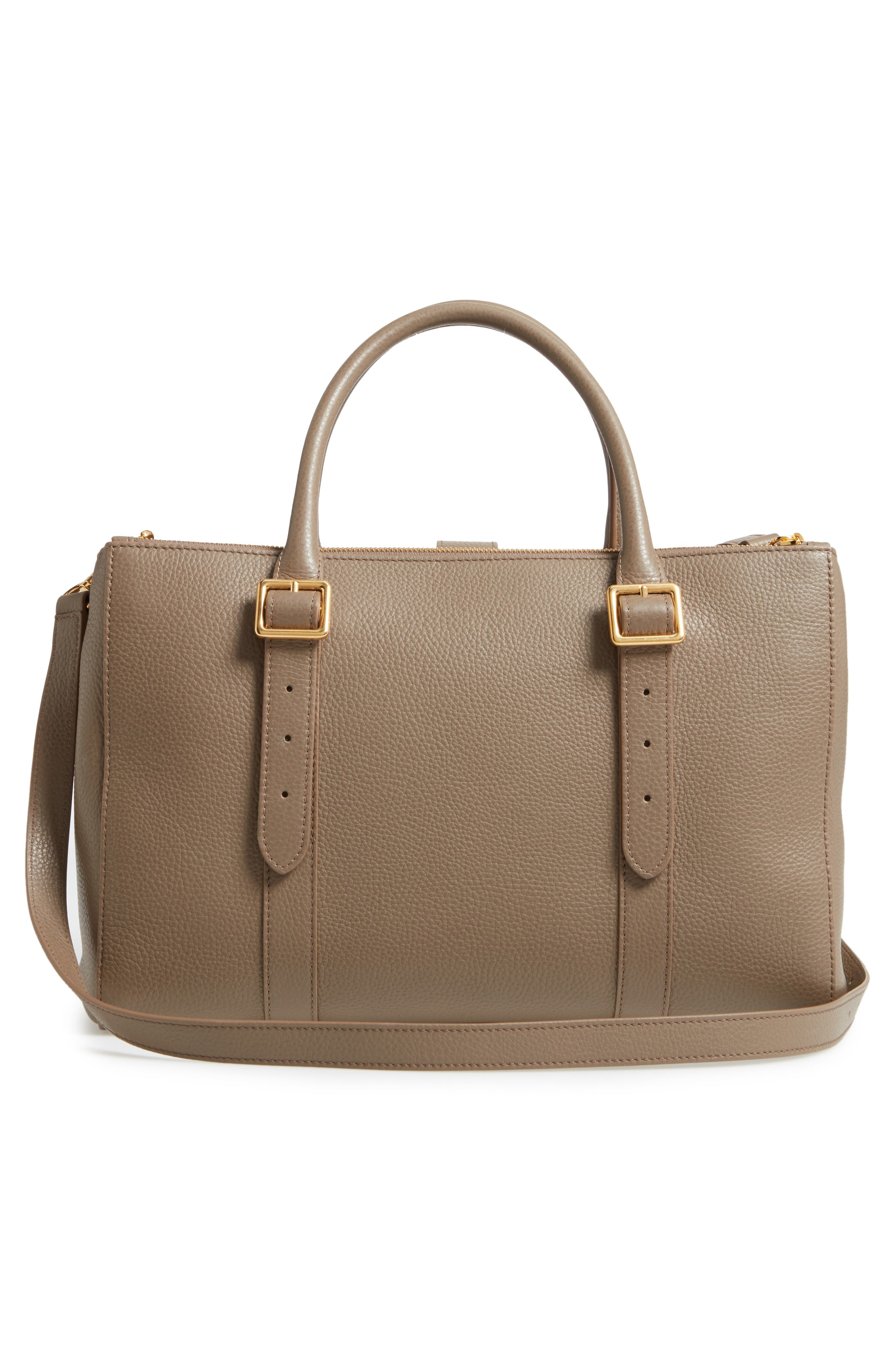 Bayswater Double Zip Leather Satchel,                             Alternate thumbnail 3, color,                             Clay