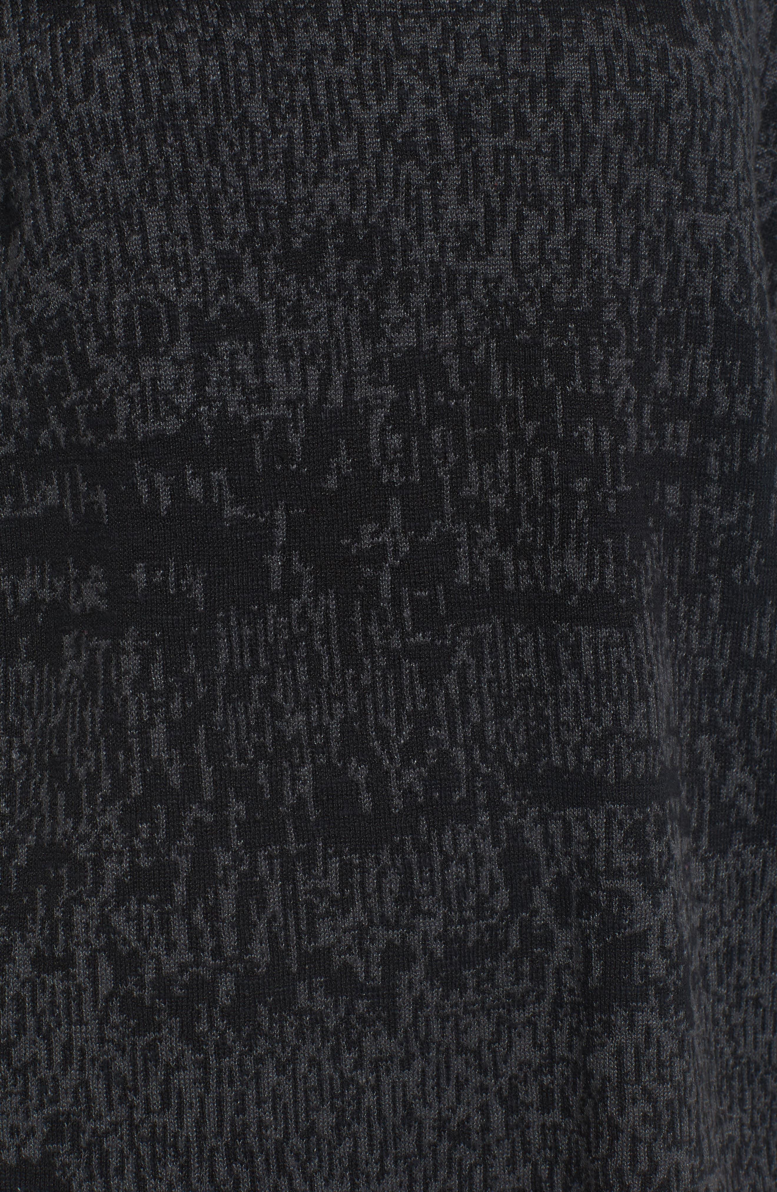 Funnel Neck Organic Linen Blend Sweater,                             Alternate thumbnail 5, color,                             Charcoal