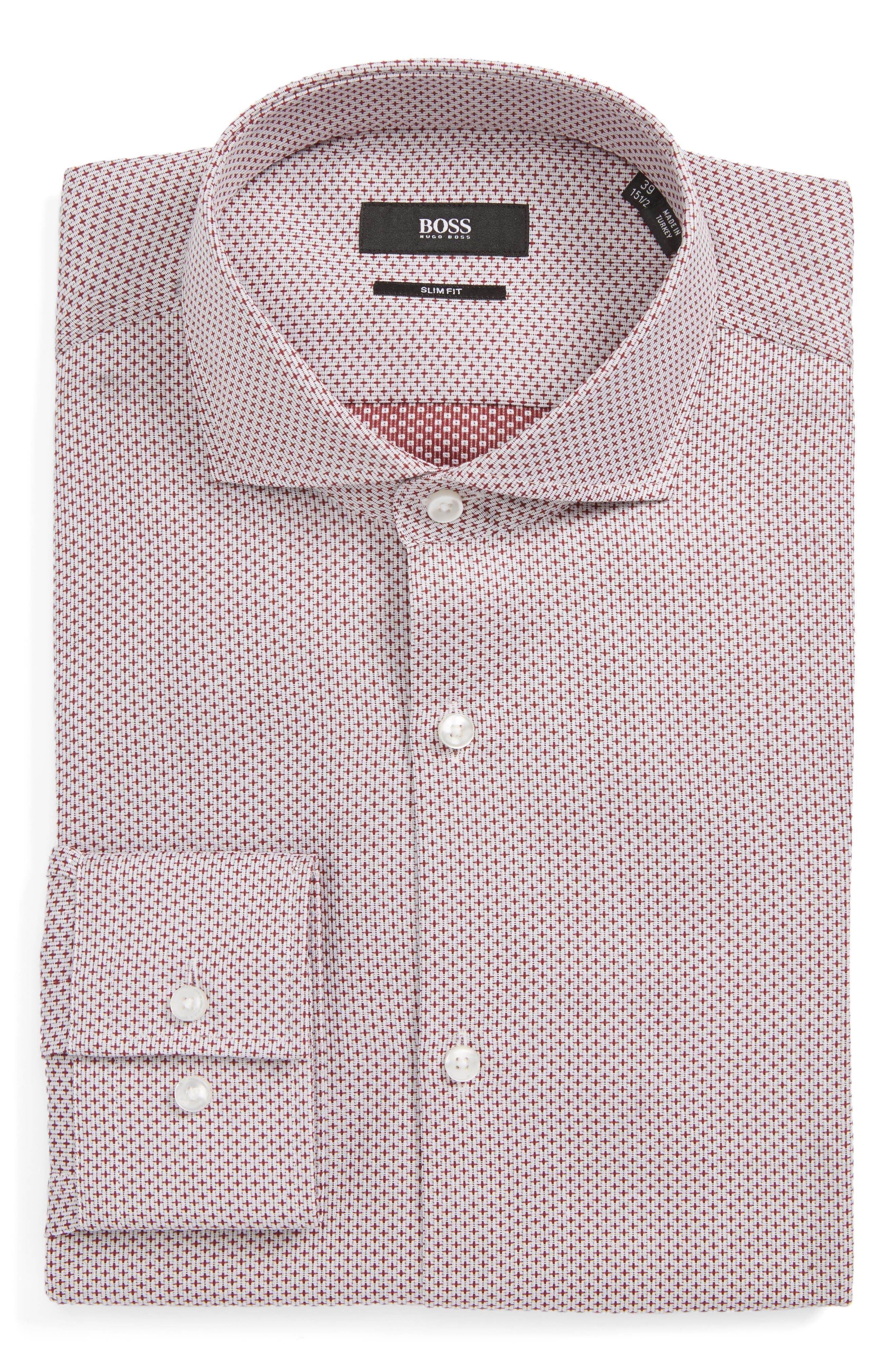 Jason Slim Fit Dress Shirt,                             Main thumbnail 1, color,                             Burgundy