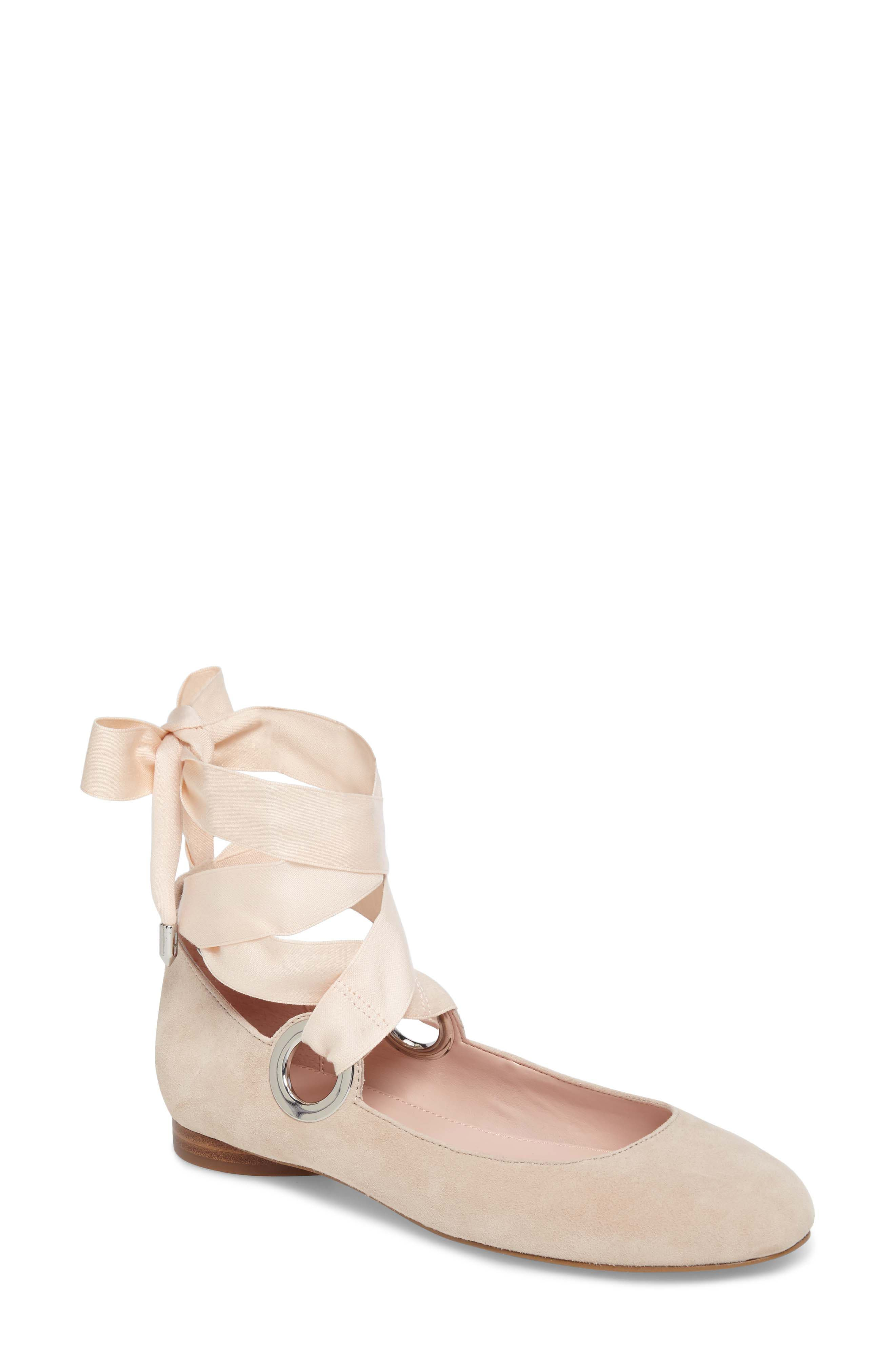 Miri Lace-Up Flat,                         Main,                         color, Bamboo Suede