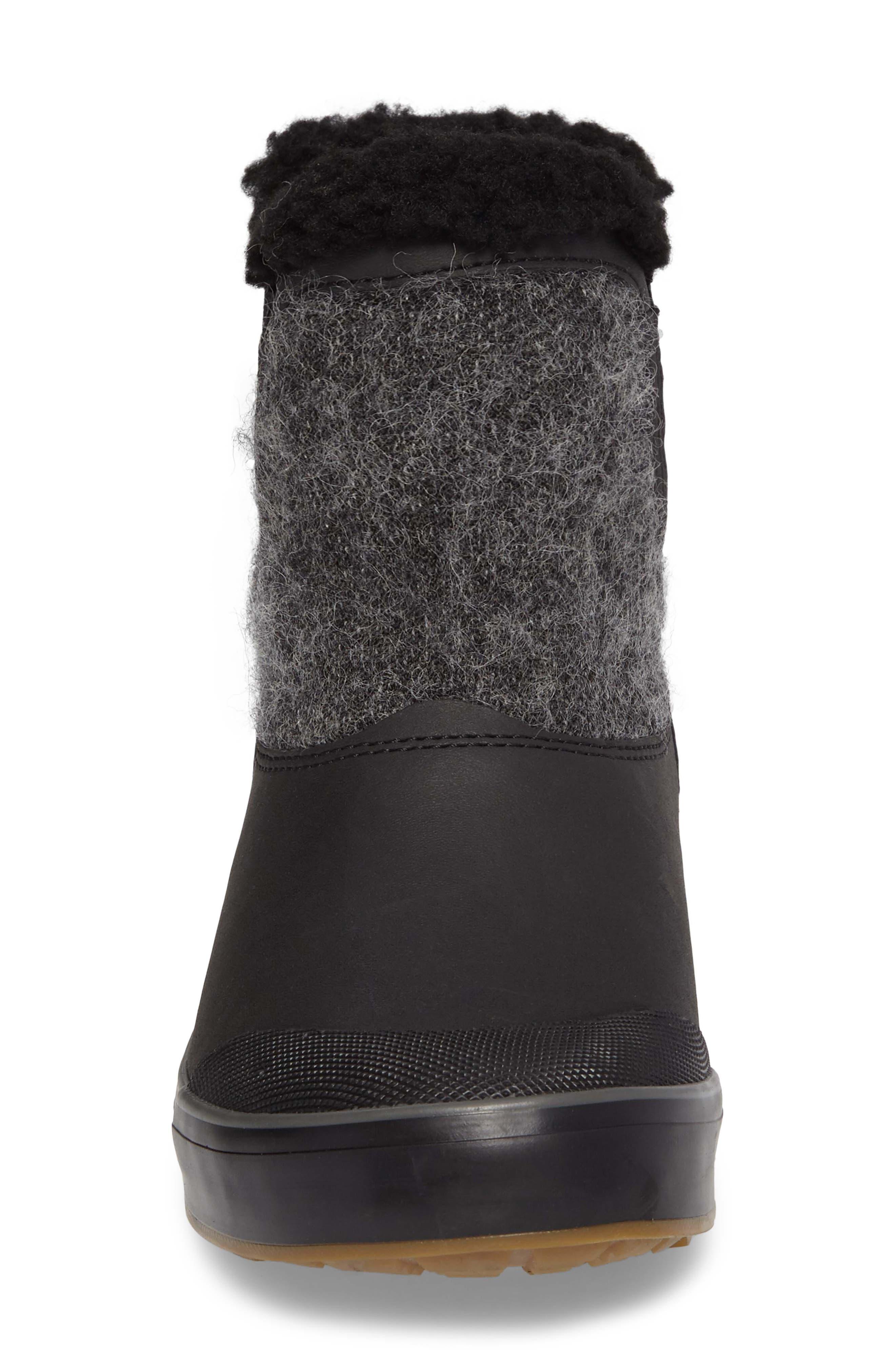 Elsa Chelsea Waterproof Faux Fur Lined Boot,                             Alternate thumbnail 4, color,                             Black Wool Leather