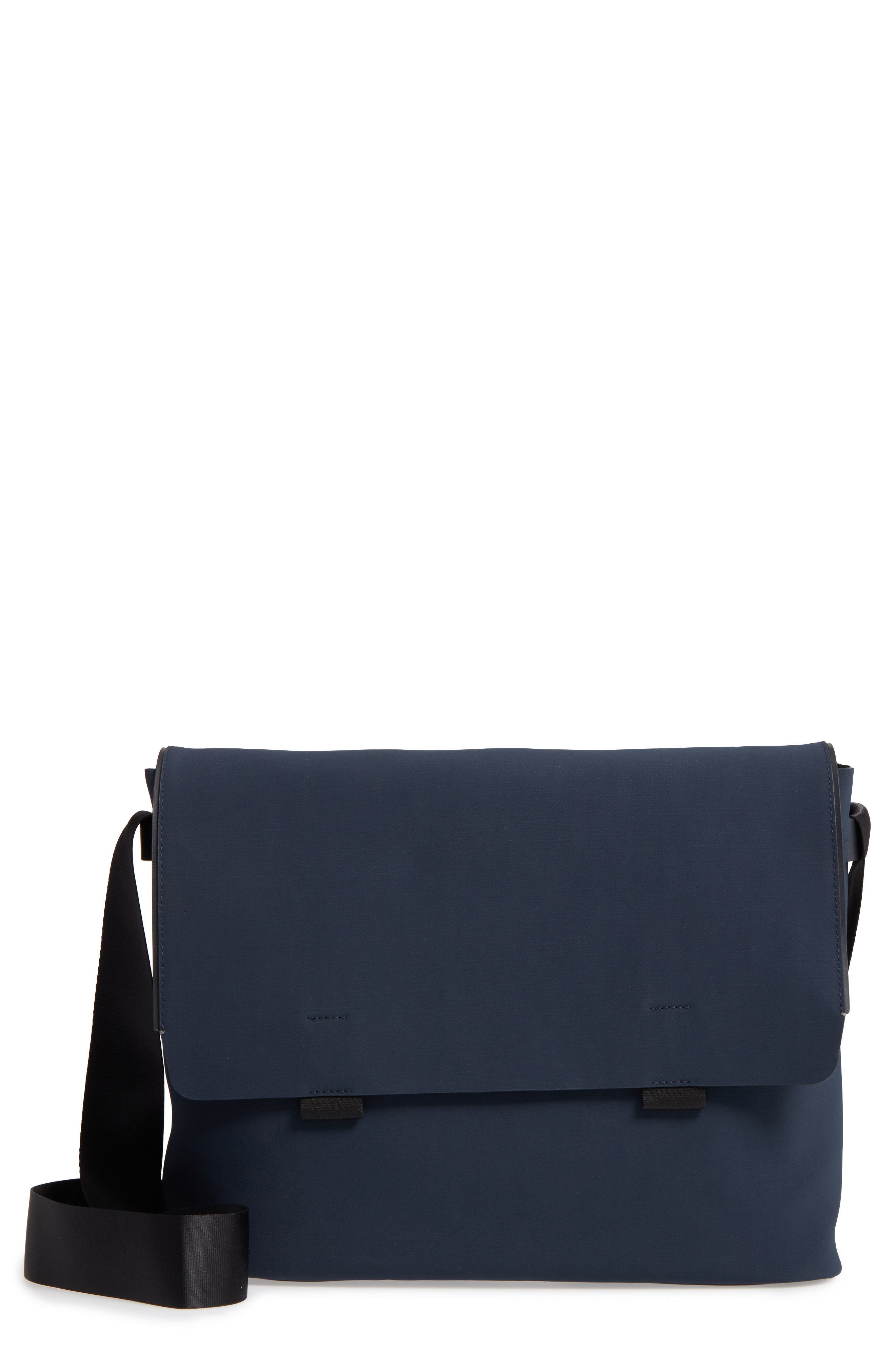 Canvas Messenger Bag,                             Main thumbnail 1, color,                             Navy Canvas/ Navy Leather