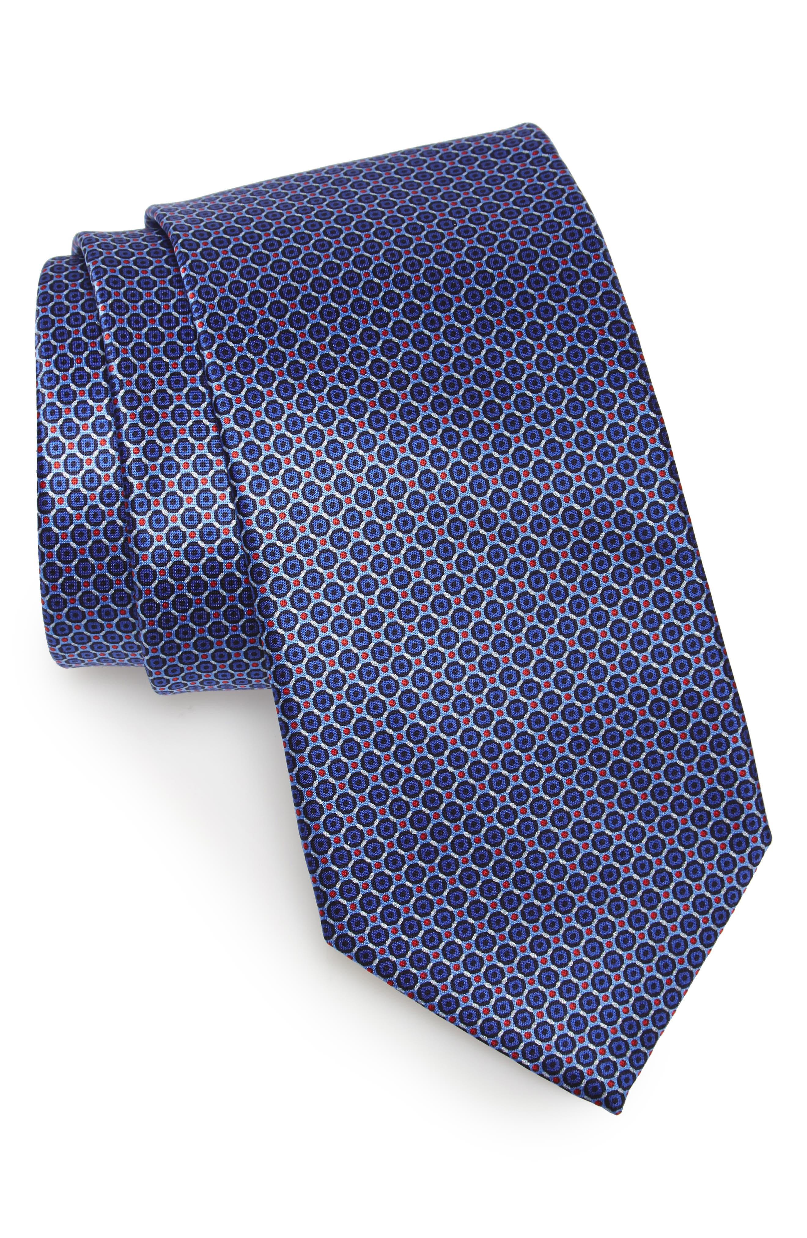 Geometric Silk Tie,                         Main,                         color, Medium Blue